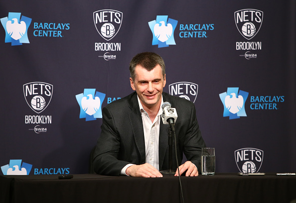 NEW YORK, NY - APRIL 8: Brooklyn Nets owner Mikhail Dmitrievitch Prokhorov speaks to the media after a game the Atlanta Hawks on April 8, 2015 at the Barclays Center in the Brooklyn borough of New York City. (Photo by Nathaniel S. Butler/NBAE via Getty Im
