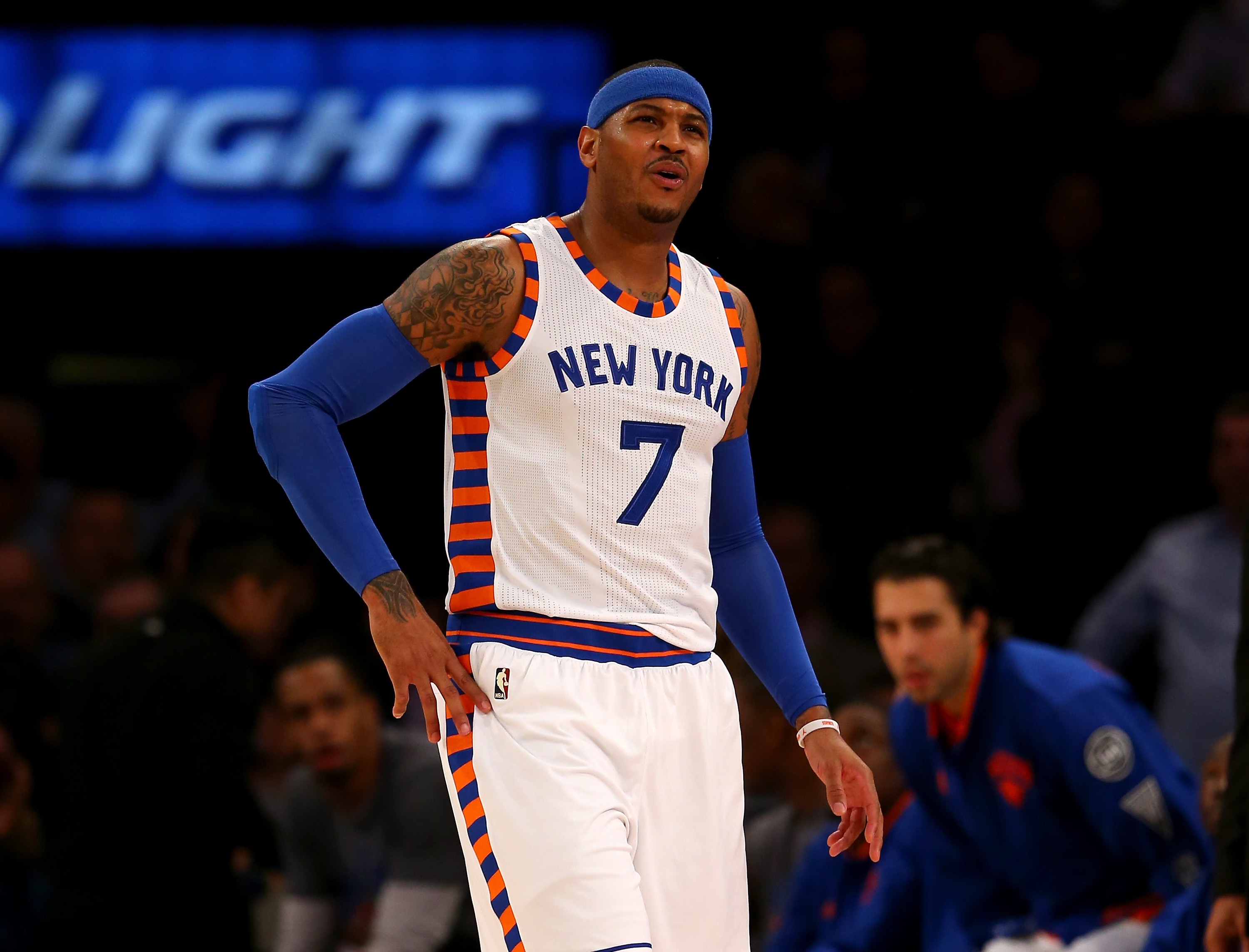 NEW YORK, NY - JANUARY 12:  Carmelo Anthony #7 of the New York Knicks reacts after he is called for a foul in the first half against the Boston Celtics at Madison Square Garden on January 12, 2016 in New York City. (Photo by Elsa/Getty Images)