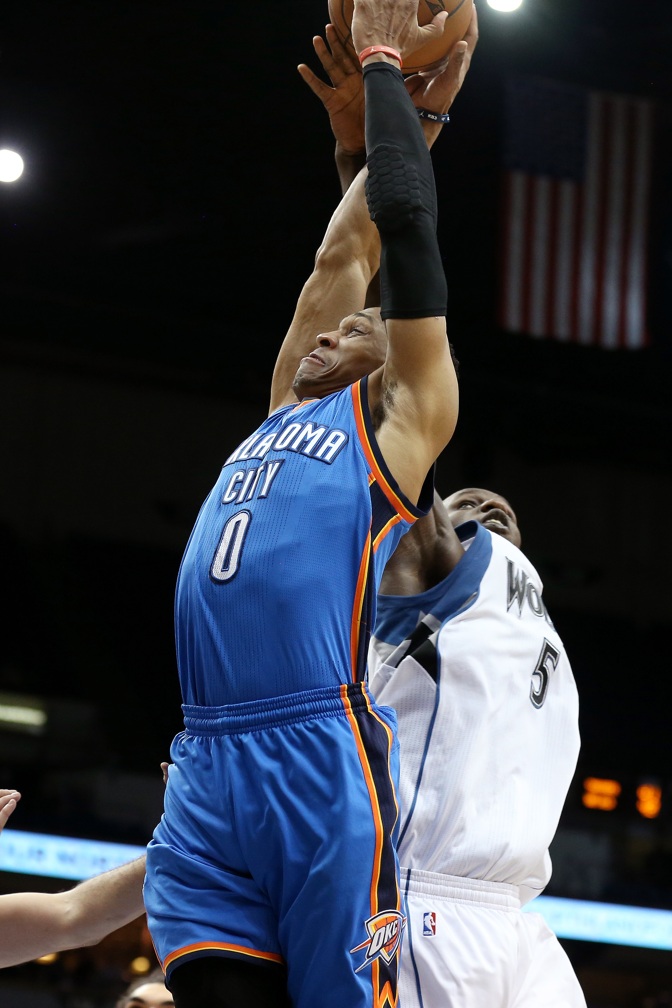 MINNEAPOLIS, MN -  JANUARY 12: Russell Westbrook #0 of the Oklahoma City Thunder goes for the dunk during the game against the Minnesota Timberwolves on January 12, 2016 at Target Center in Minneapolis, Minnesota. (Photo by Jordan Johnson/NBAE via Getty I
