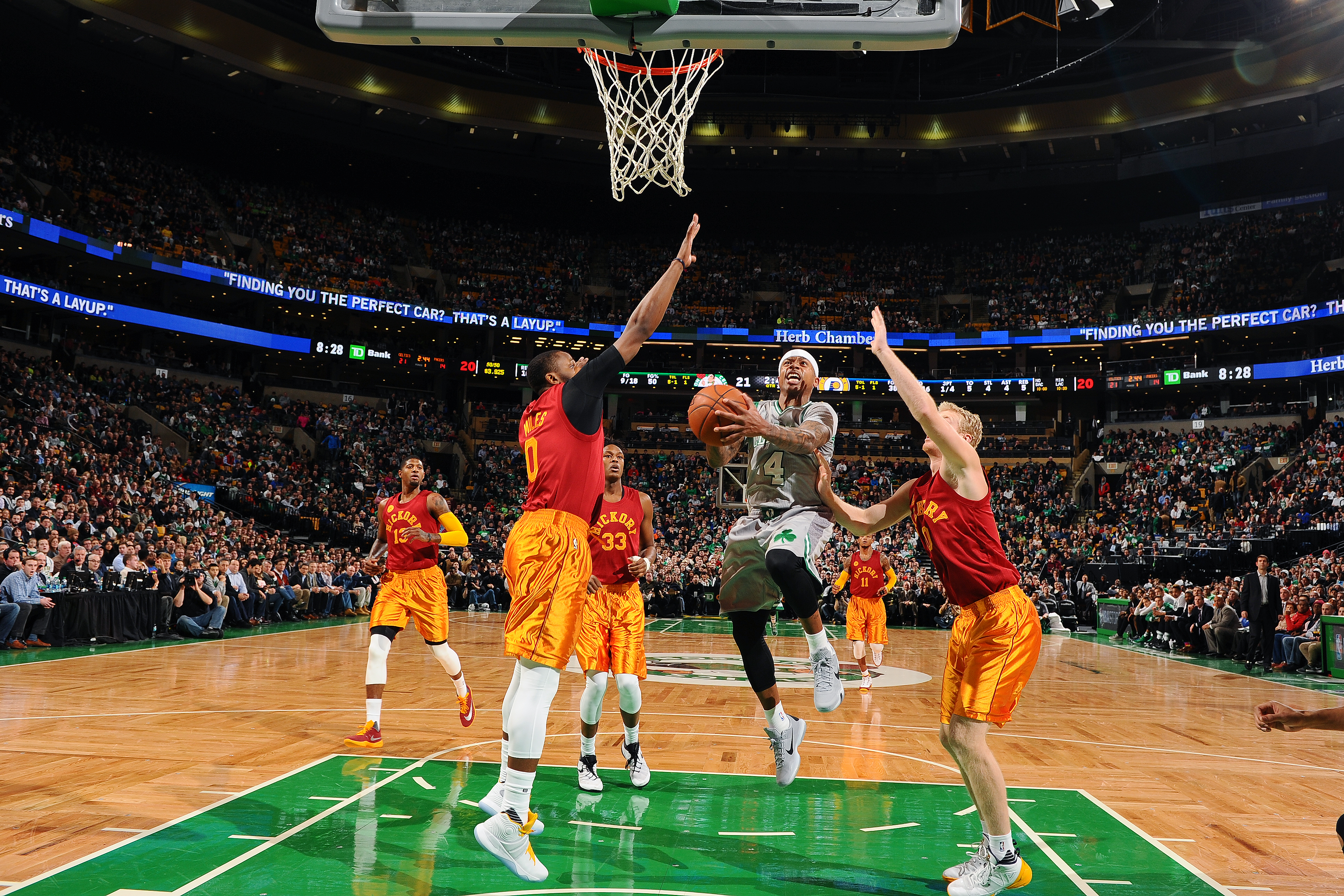 BOSTON, MA - JANUARY 13: Isaiah Thomas #4 of the Boston Celtics drives to the basket during the game against the Indiana Pacers on January 13, 2016 at TD Garden in Boston, Massachusetts. (Photo by Brian Babineau/NBAE via Getty Images)