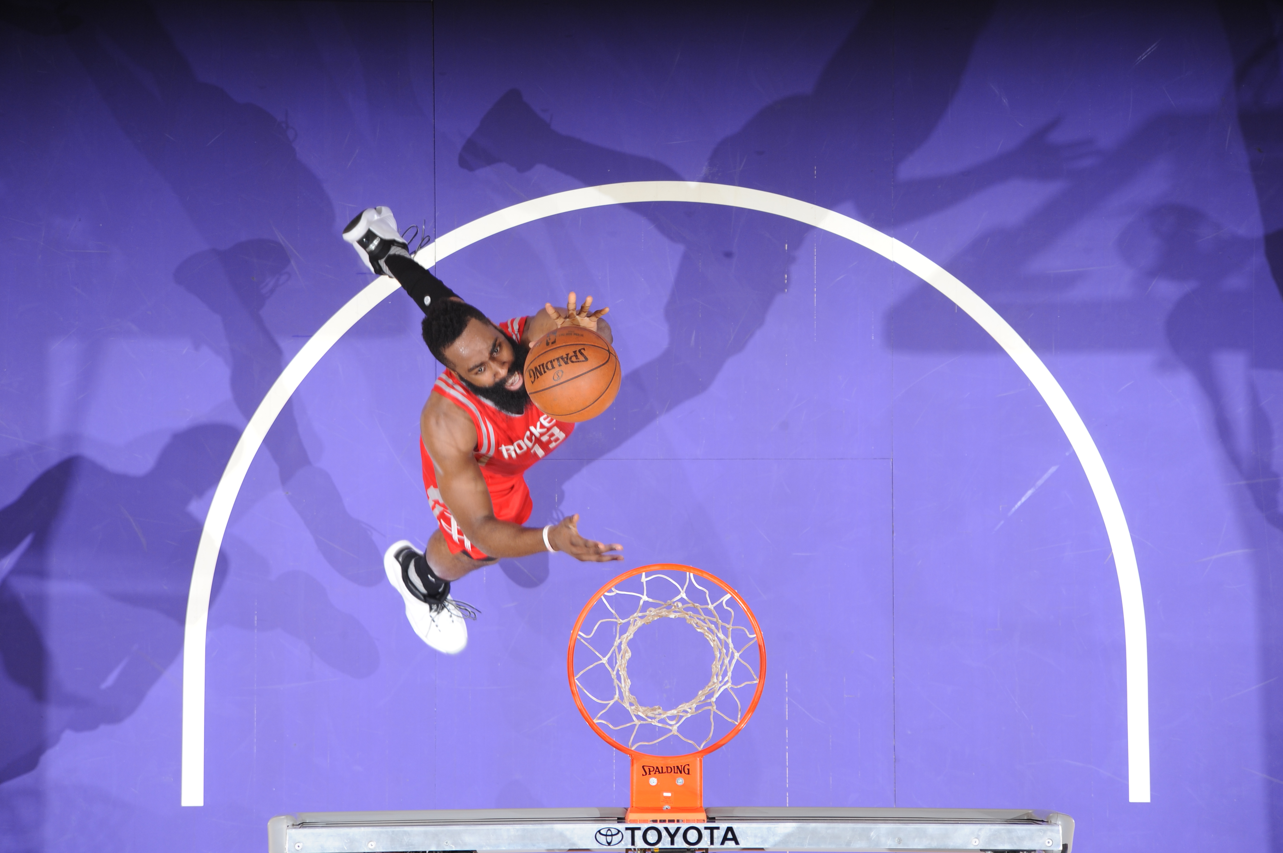 LOS ANGELES, CA - JANUARY 17:  James Harden #13 of the Houston Rockets goes to the basket against the Los Angeles Lakers on January 17, 2016 at STAPLES Center in Los Angeles, California. (Photo by Andrew D. Bernstein/NBAE via Getty Images)