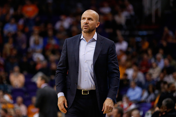 PHOENIX, AZ - DECEMBER 20:  Head coach Jason Kidd of the Milwaukee Bucks reacts during the frist half of the NBA game against the Phoenix Suns at Talking Stick Resort Arena on December 20, 2015 in Phoenix, Arizona.  (Photo by Christian Petersen/Getty Imag