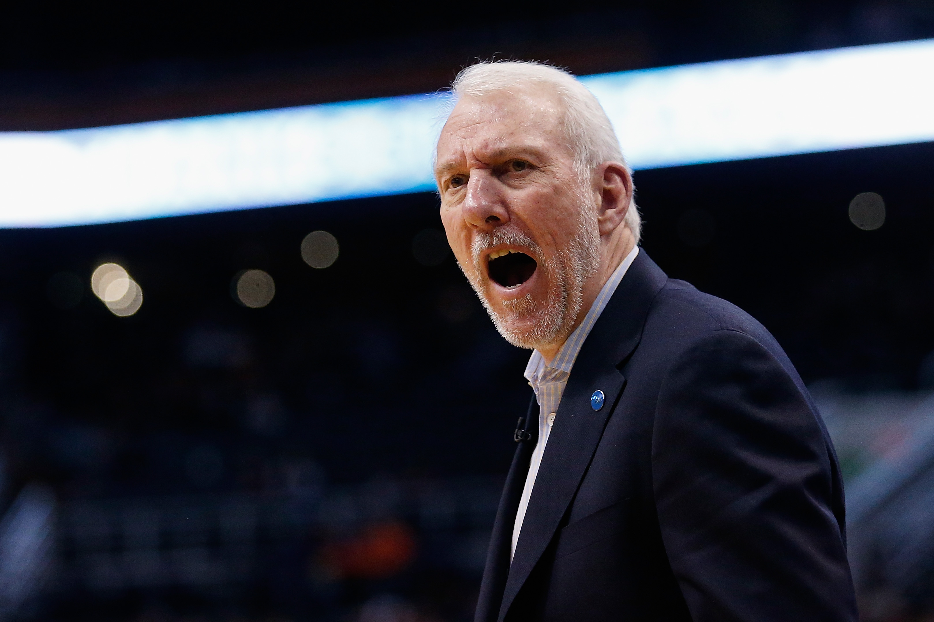 PHOENIX, AZ - JANUARY 21:  Head coach Gregg Popovich of the San Antonio Spurs reacts on the bench during the second half of the NBA game against the Phoenix Suns at Talking Stick Resort Arena on January 21, 2016 in Phoenix, Arizona.  (Photo by Christian P