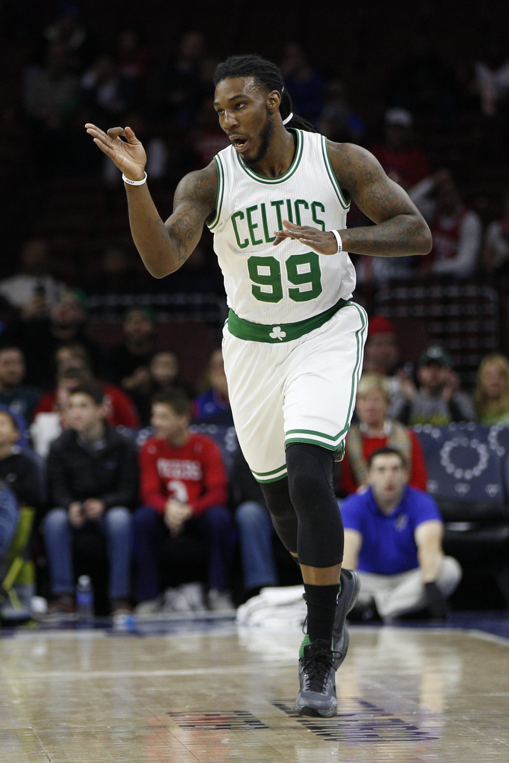 Boston Celtics' Jae Crowder reacts to his 3-pointer during the first half of an NBA basketball game against the Philadelphia 76ers, Sunday, Jan. 24, 2016, in Philadelphia. (AP Photo/Chris Szagola)