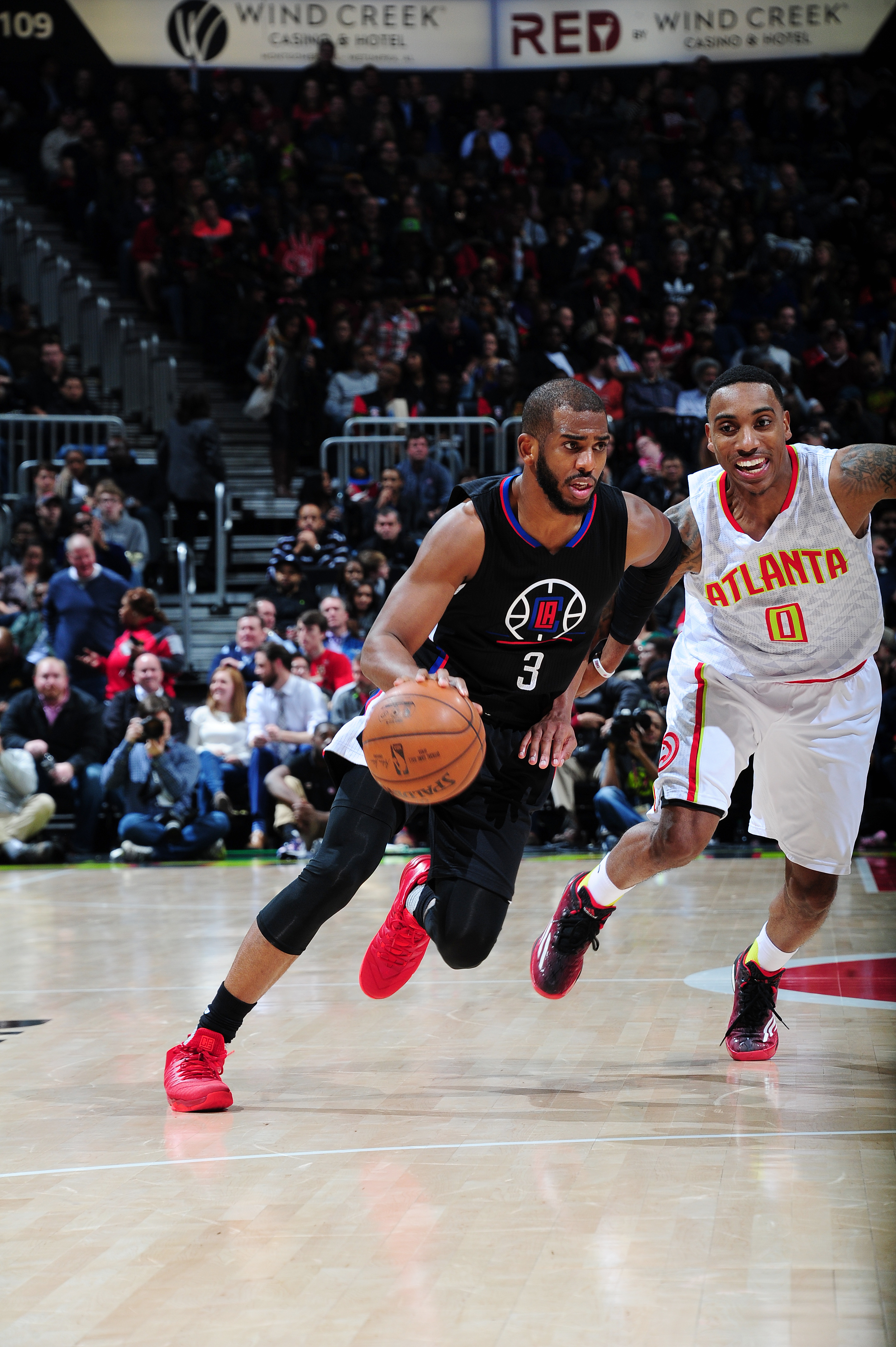 ATLANTA, GA - JANUARY 27: Chris Paul #3 of the Los Angeles Clippers handles the ball against the Atlanta Hawks on January 27, 2016 at Philips Arena in Atlanta, Georgia.  (Photo by Scott Cunningham/NBAE via Getty Images)