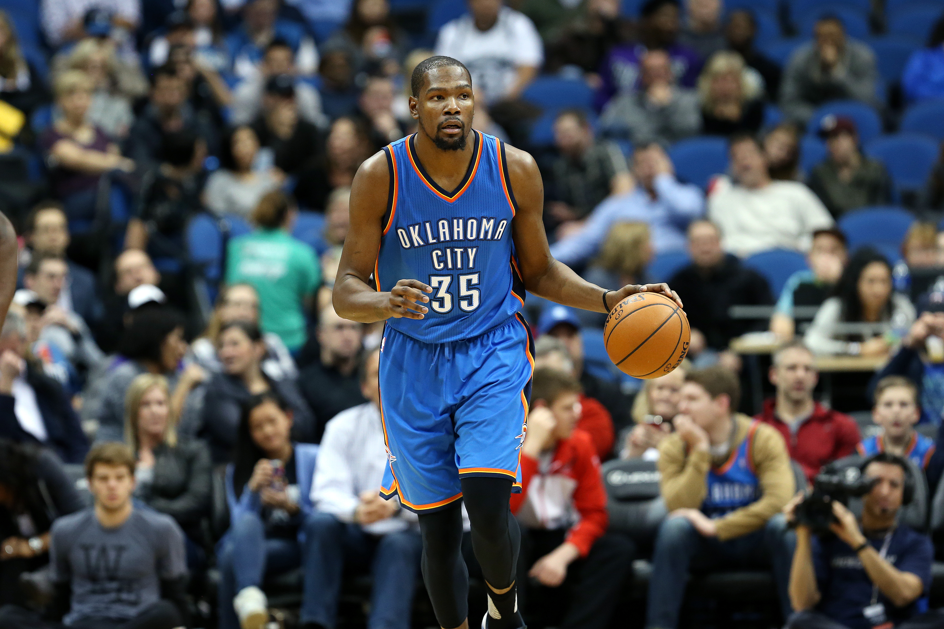 MINNEAPOLIS, MN -  JANUARY 27: Kevin Durant #35 of the Oklahoma City Thunder handles the ball during the game against the Minnesota Timberwolves on January 27, 2016 at Target Center in Minneapolis, Minnesota. (Photo by Jordan Johnson/NBAE via Getty Images