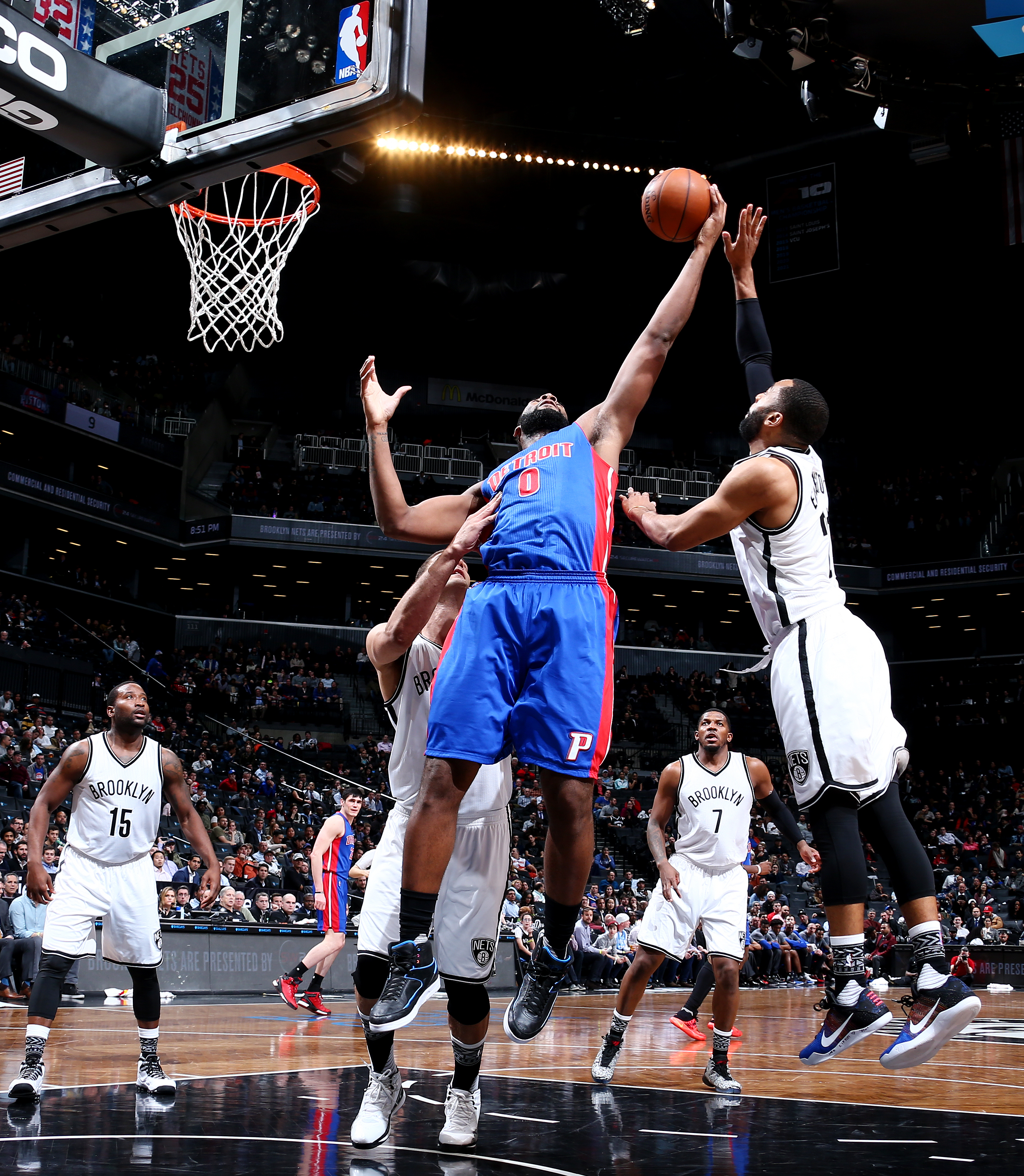 BROOKLYN, NY - FEBRUARY 1: Andre Drummond #0 of the Detroit Pistons grabs the rebound against the Brooklyn Nets on February 1, 2016 at Barclays Center in Brooklyn, New York. (Photo by Nathaniel S. Butler/NBAE via Getty Images)