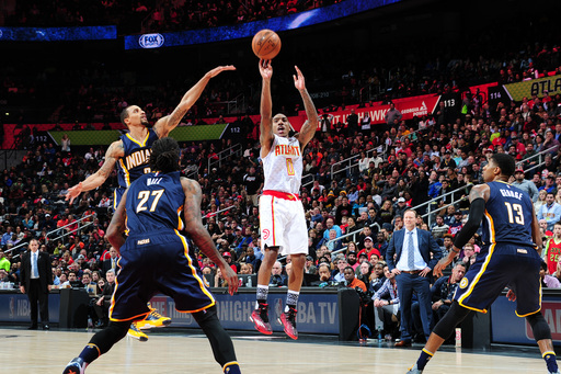 ATLANTA, GA - FEBRUARY 5: Jeff Teague #0 of the Atlanta Hawks shoots the ball against the Indiana Pacers on February 5, 2016 at Philips Arena in Atlanta, Georgia.  (Photo by Scott Cunningham/NBAE via Getty Images)