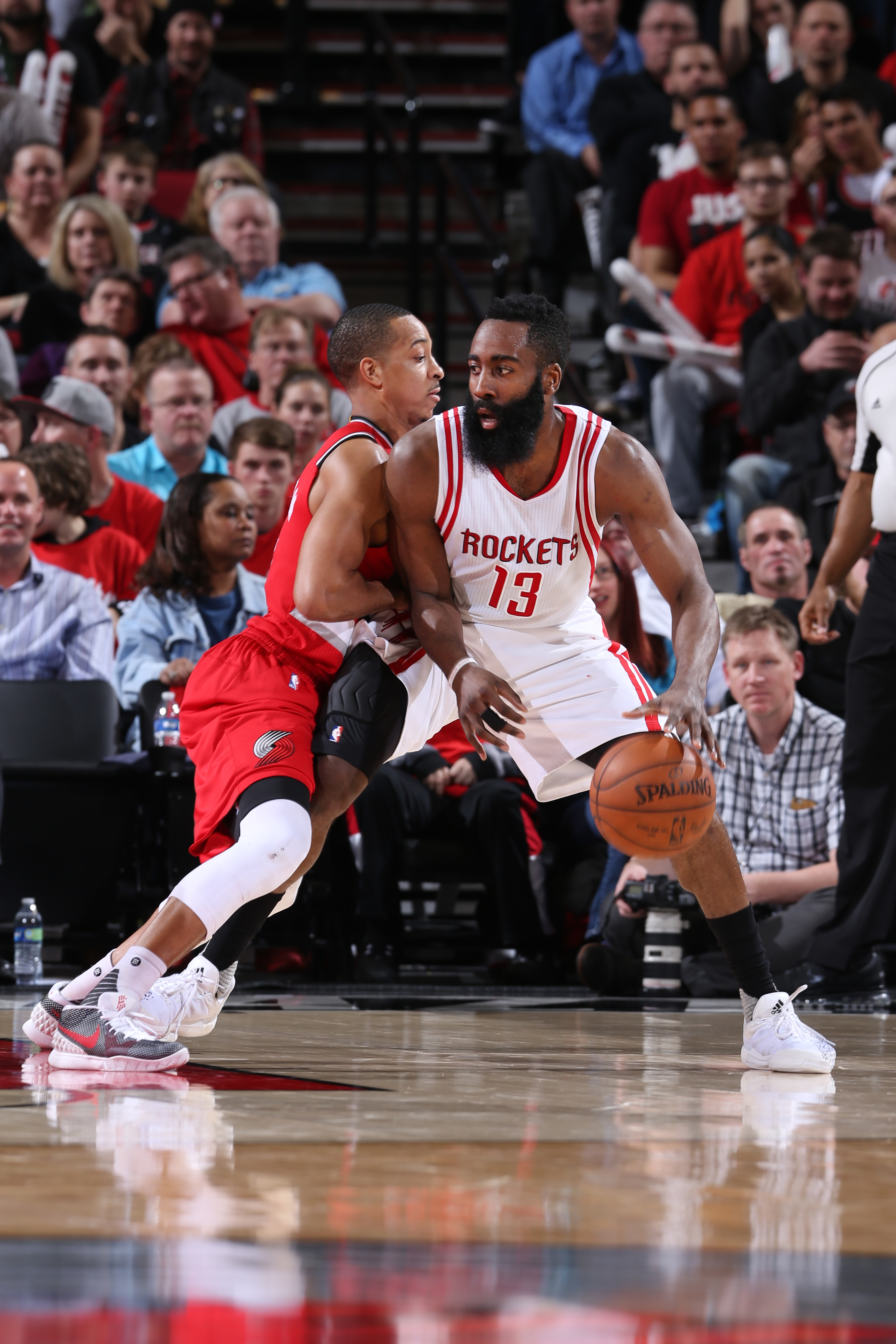 PORTLAND, OR - FEBRUARY 25: James Harden #13 of the Houston Rockets drives to the basket against the Portland Trail Blazers during the game on February 25, 2016 at Moda Center in Portland, Oregon. (Photo by Sam Forencich/NBAE via Getty Images)