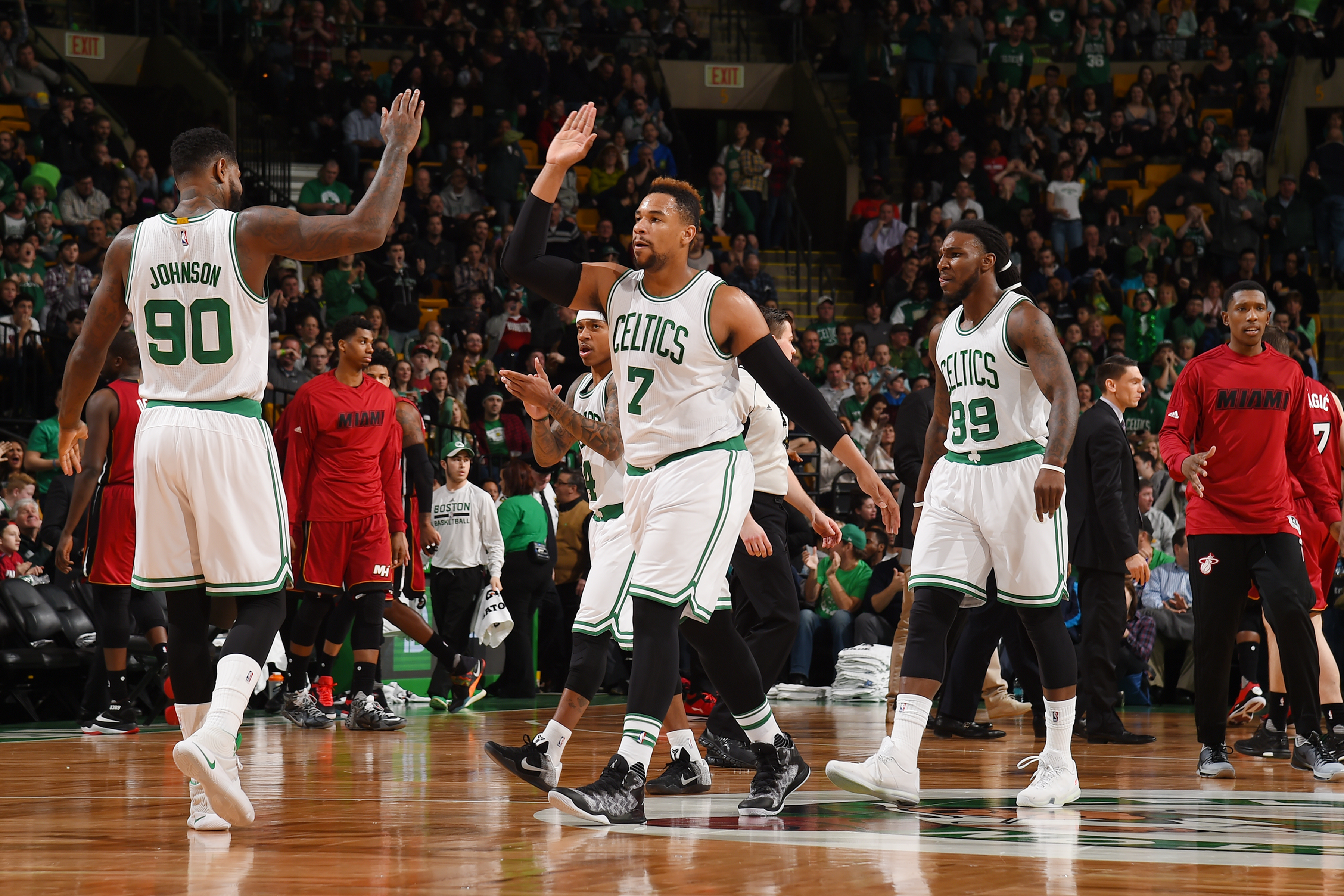BOSTON, MA - FEBRUARY 27:  Jared Sullinger #7 of the Boston Celtics shakes hands with his teammates during the game against the Miami Heat on February 27, 2016 at the TD Garden in Boston, Massachusetts.  (Photo by Steve Babineau/NBAE via Getty Images)