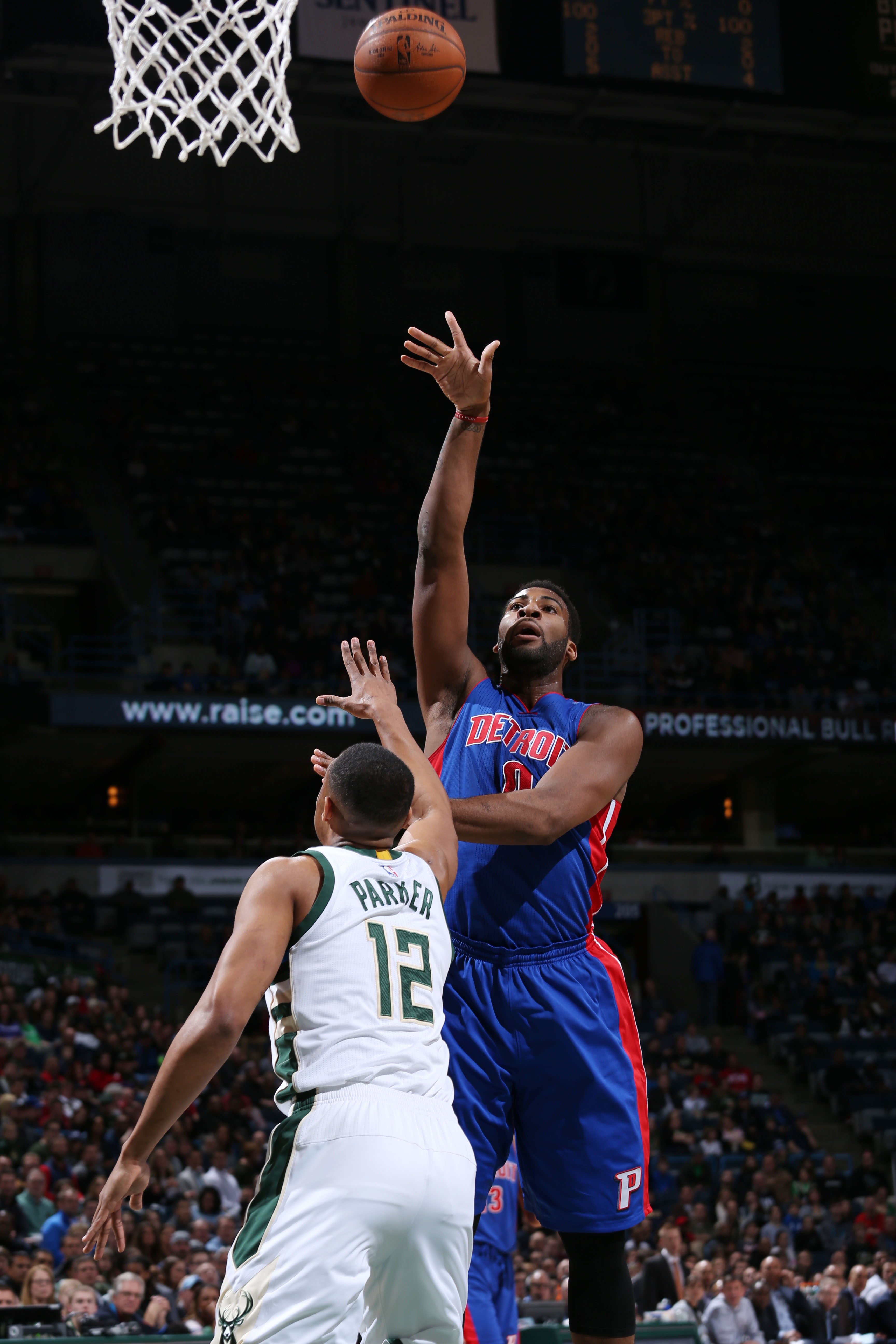 Milwaukee, WI - FEBRUARY 28: Andre Drummond #0 of the Detroit Pistons shoots the ball against the Milwaukee Bucks on February 28, 2016 at the BMO Harris Bradley Center in Milwaukee, Wisconsin. (Photo by Gary Dineen/NBAE via Getty Images)