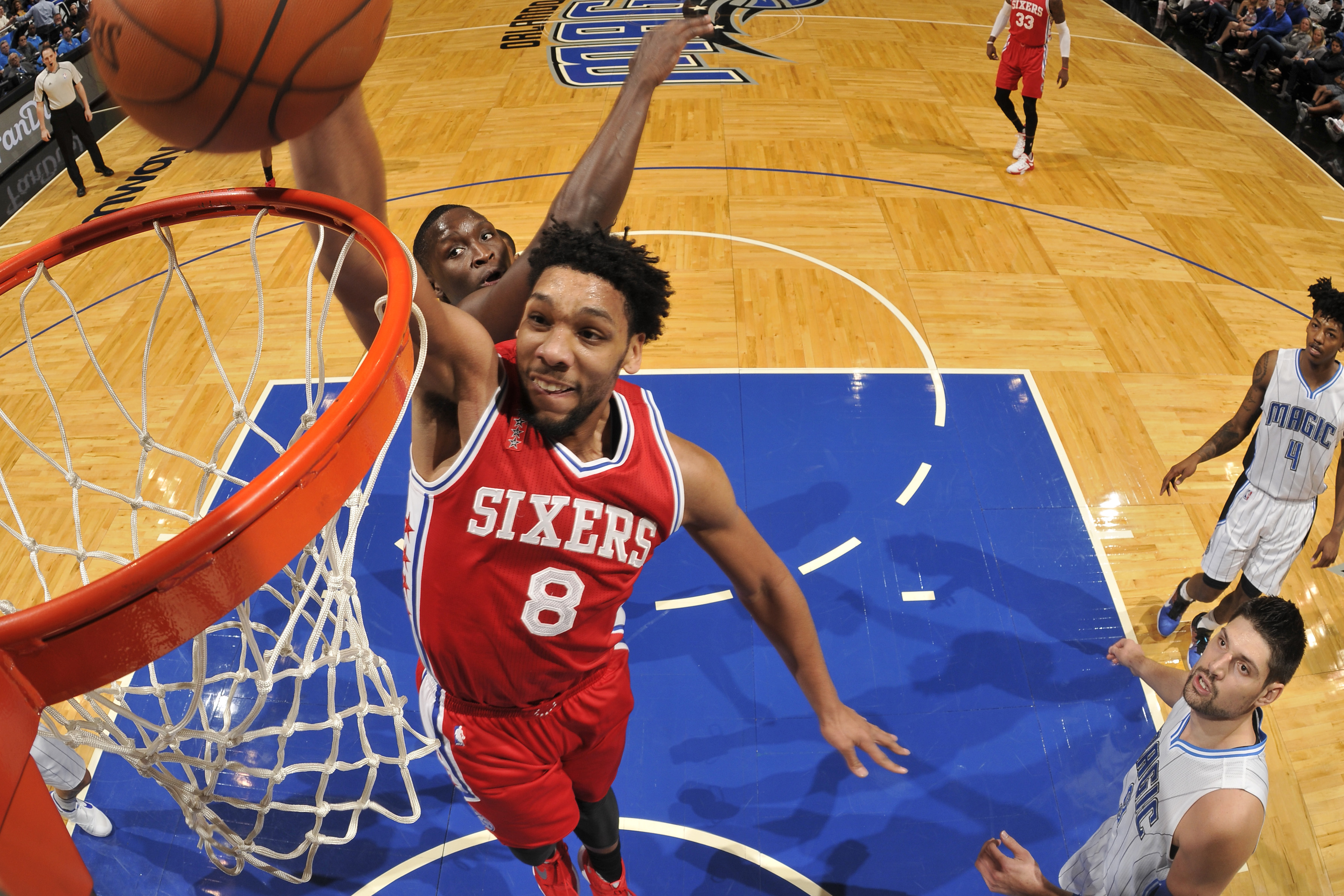 ORLANDO, FL - FEBRUARY 28:  Jahlil Okafor #8 of the Philadelphia 76ers shoots the ball against the Orlando Magic on February 28, 2016 at the Amway Center in Orlando, Florida. (Photo by Fernando Medina/NBAE via Getty Images)