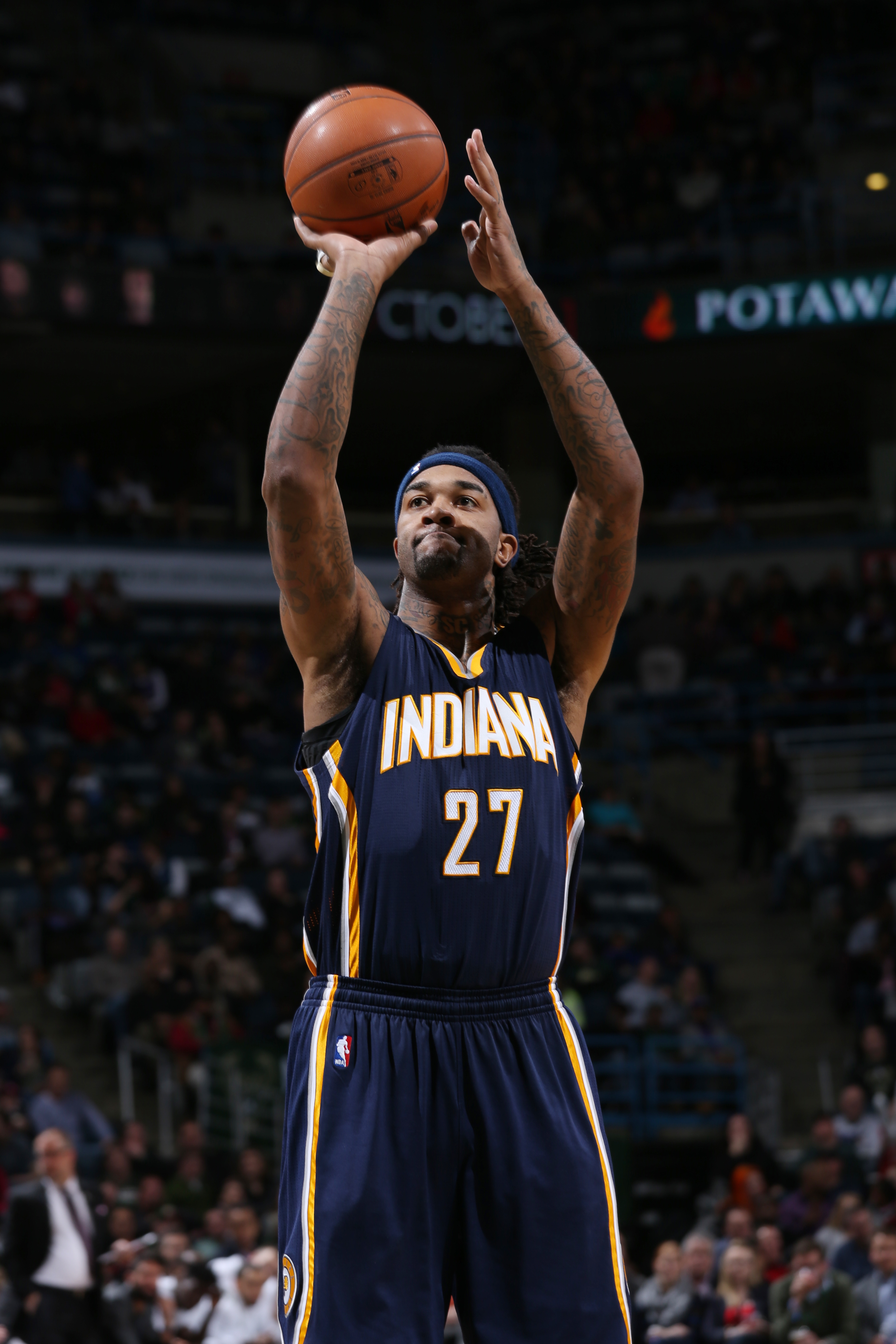 MILWAUKEE, WI  - MARCH 2: Jordan Hill #27 of the Indiana Pacers shoots against the Milwaukee Bucks during the game on March 2, 2016 at BMO Harris Bradley Center in Milwaukee, Wisconsin. (Photo by Gary Dineen/NBAE via Getty Images)