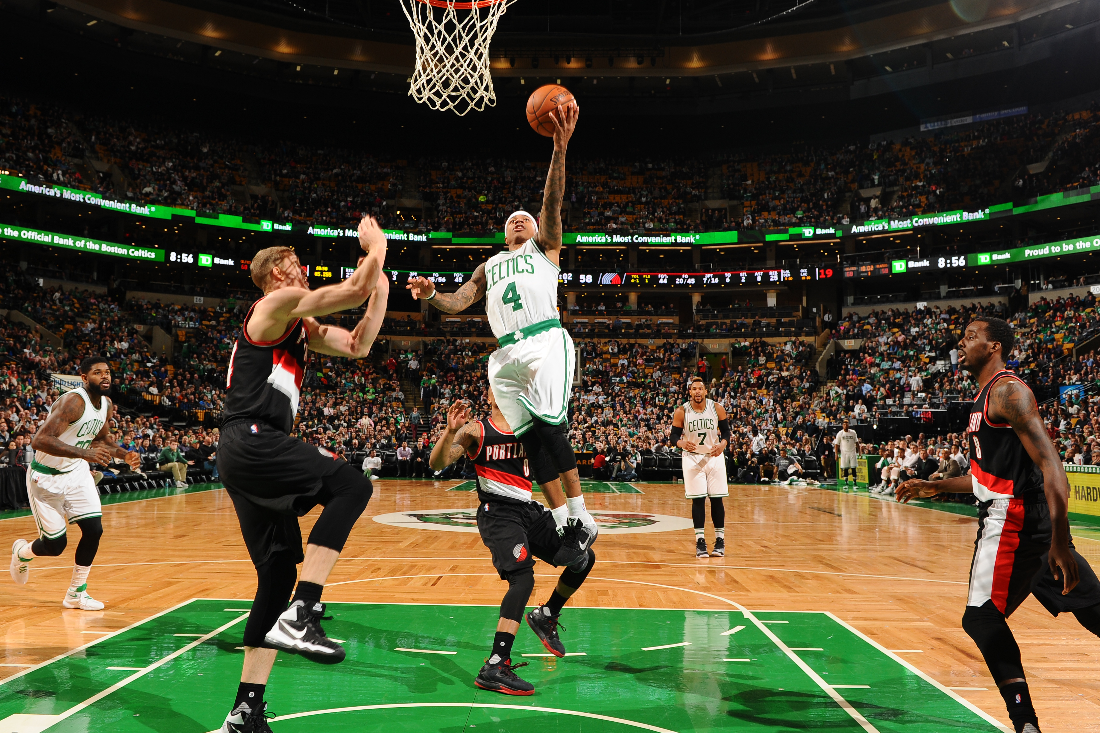BOSTON, MA  - MARCH 2: Isaiah Thomas #4 of the Boston Celtics goes for the lay up against the Portland Trail Blazers during the game on March 2, 2016 at TD Garden in Boston, Massachusetts. (Photo by Brian Babineau/NBAE via Getty Images)
