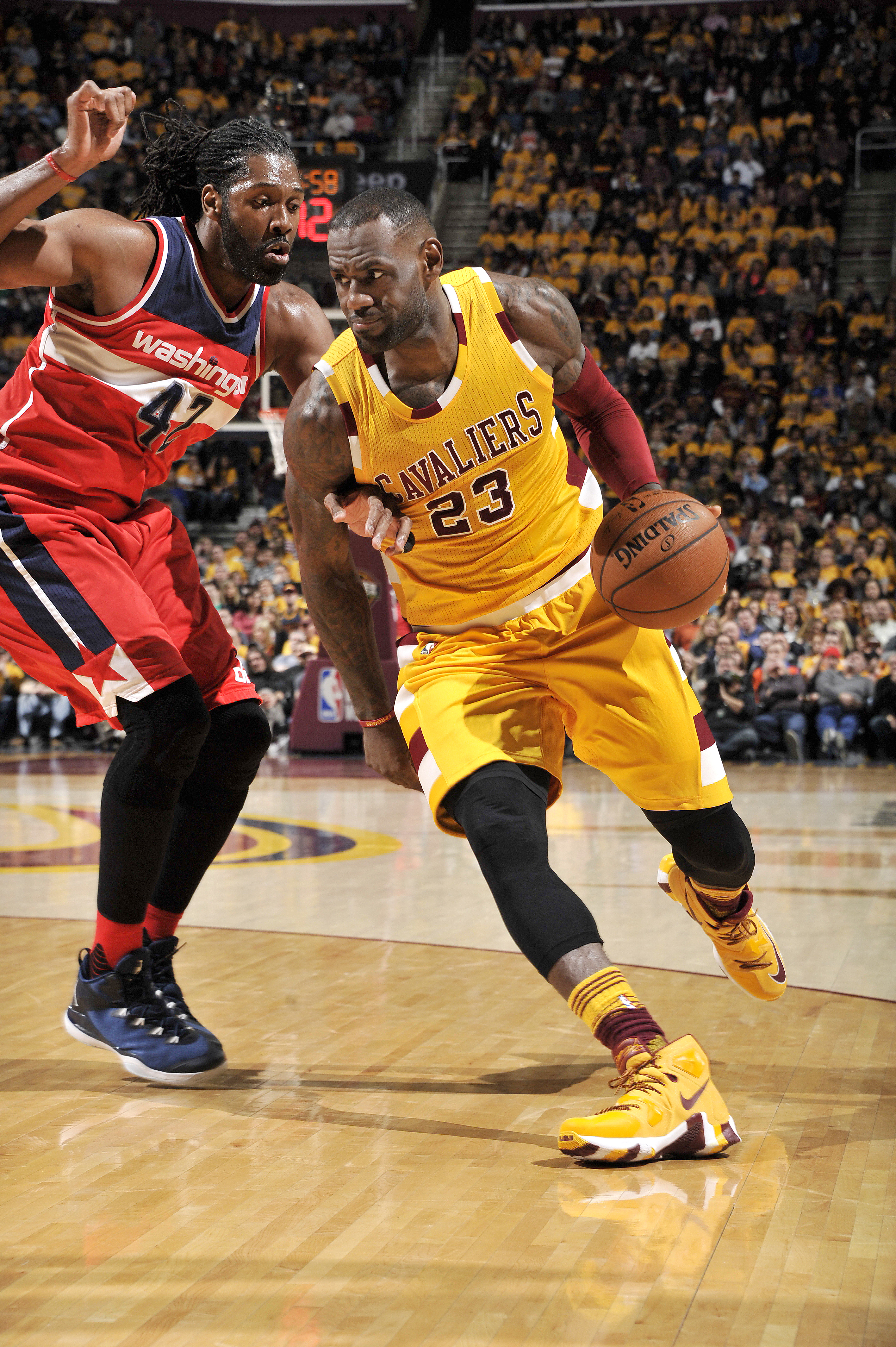 CLEVELAND, OH - MARCH 4: LeBron James #23 of the Cleveland Cavaliers handles the ball during the game against the Washington Wizards on March 4, 2016 at Quicken Loans Arena in Cleveland, Ohio.  (Photo by David Liam Kyle/NBAE via Getty Images)
