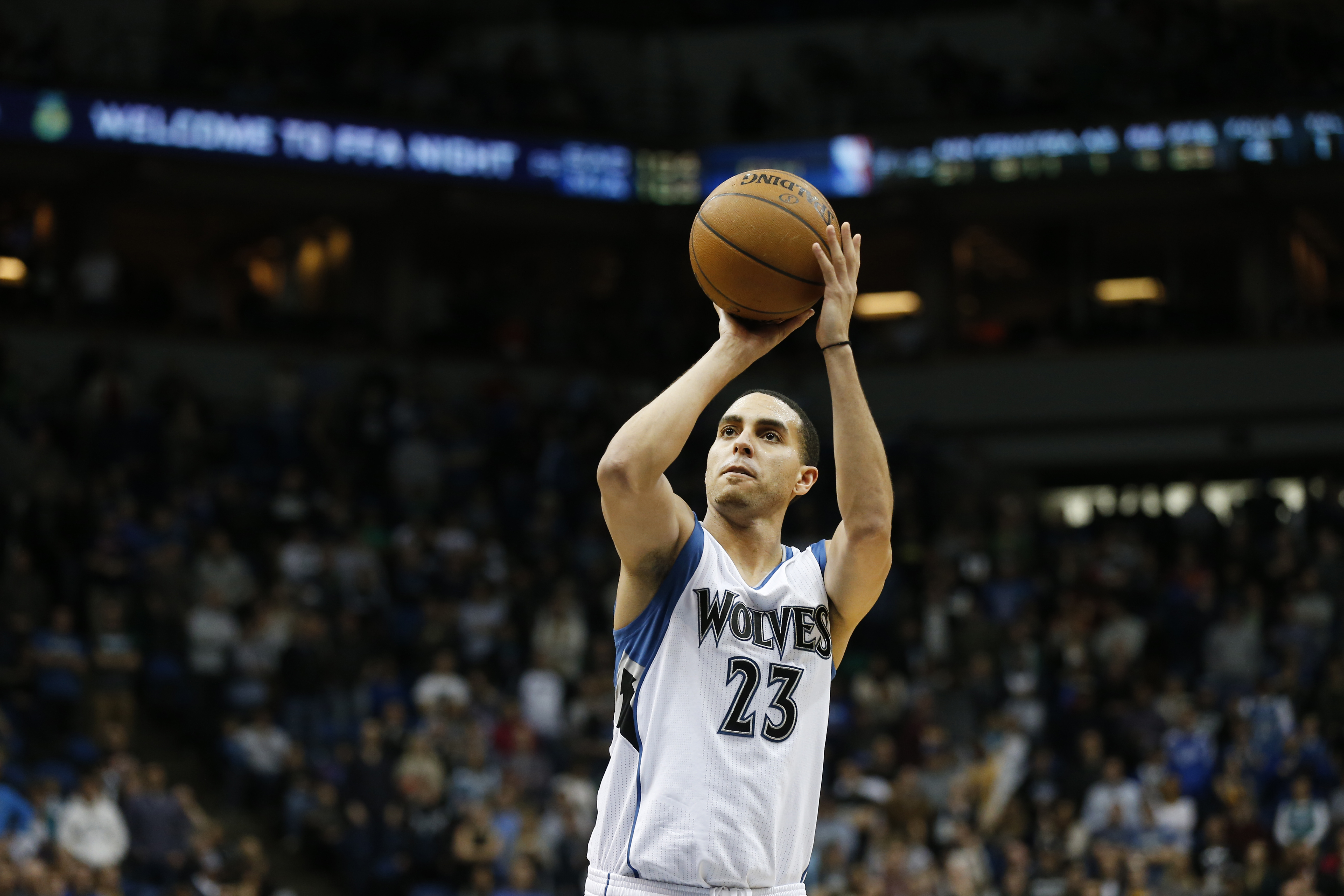 MINNEAPOLIS, MN - MARCH 7: Kevin Martin #23 of the Minnesota Timberwolves shoots against the Portland Trail Blazers during the game on March 7, 2015 at Target Center in Minneapolis, Minnesota. (Photo by Jordan Johnson/NBAE via Getty Images)