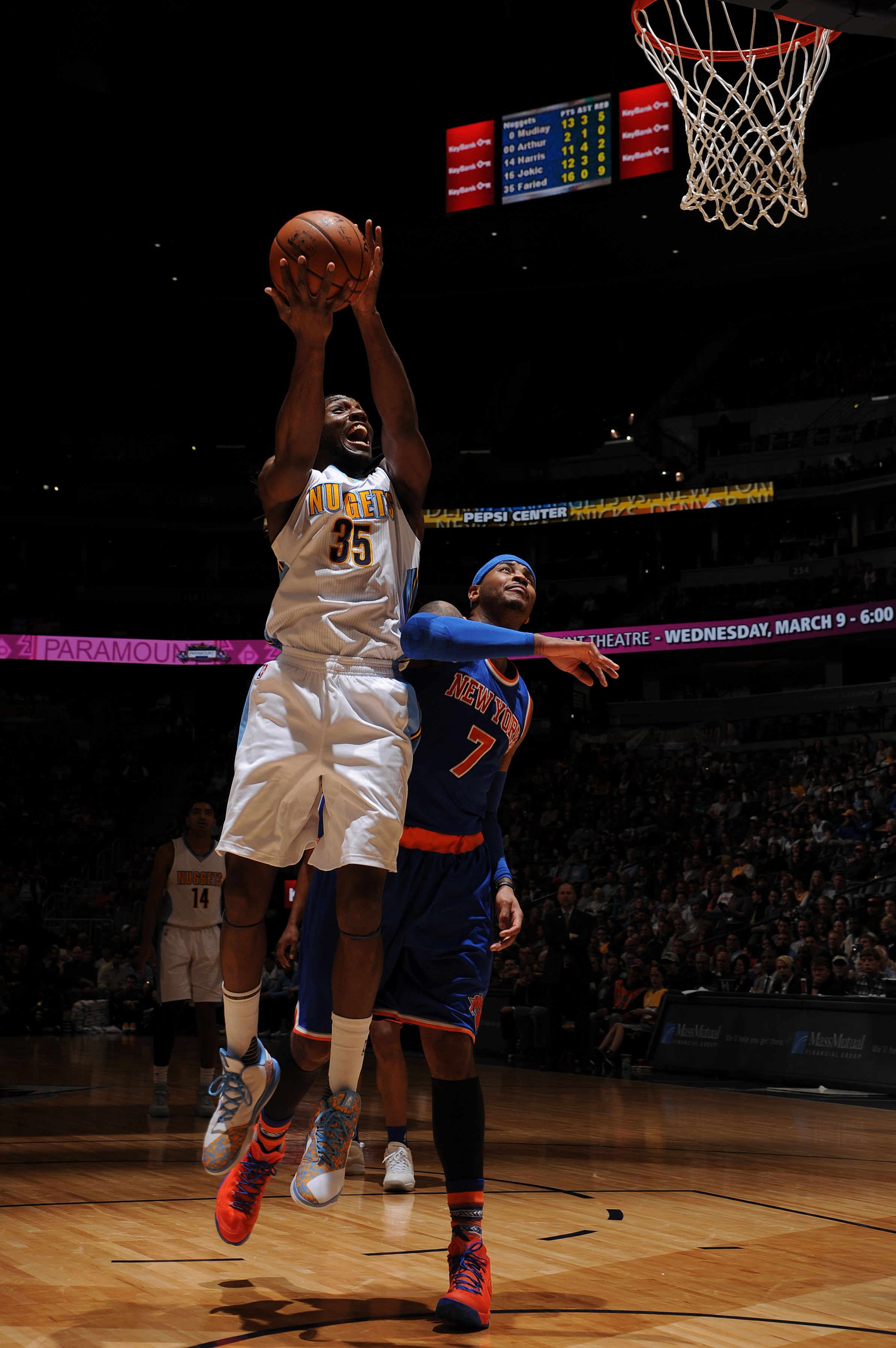 DENVER, CO - MARCH 8:  Kenneth Faried #35 of the Denver Nuggets goes to the basket against the New York Knicks on March 8, 2016 at the Pepsi Center in Denver, Colorado. (Photo by Bart Young/NBAE via Getty Images)
