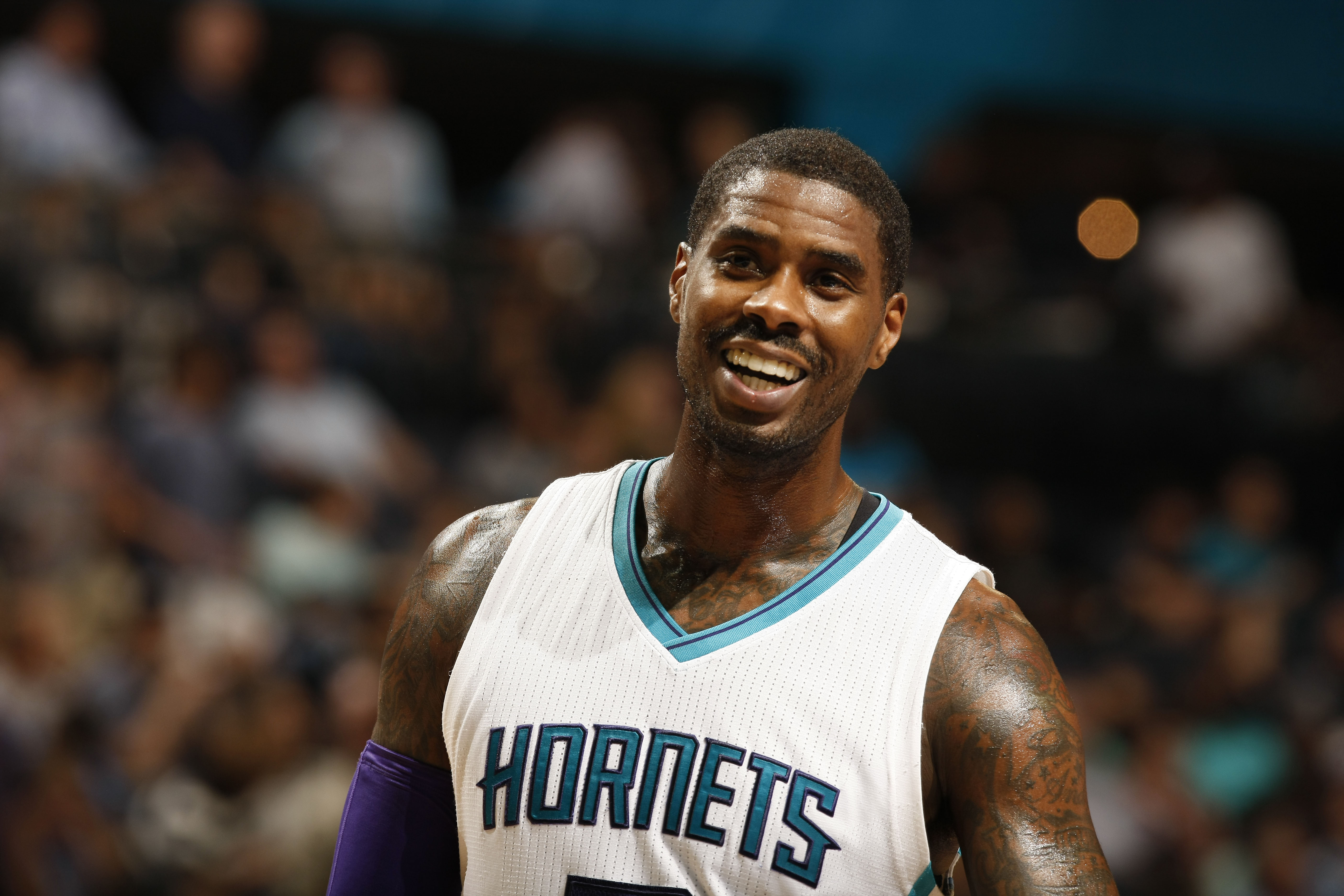 CHARLOTTE, NC - MARCH 11:  Marvin Williams #2 of the Charlotte Hornets is seen during the game against the Detroit Pistons at the Time Warner Cable Arena on March 11, 2016 in Charlotte, North Carolina. (Photo by Kent Smith/NBAE via Getty Images)