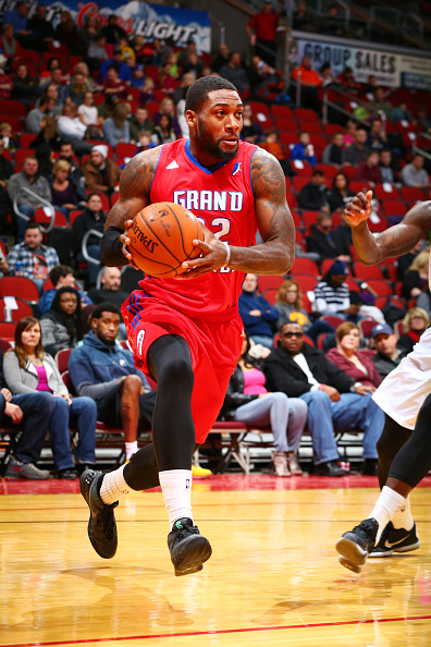 DES MOINES, IA - JANUARY 15:  Branden Dawson #22 of the Grand Rapids Drive drives to the basket against the Iowa Energy in an NBA D-League game on January 15, 2016 at the Wells Fargo Arena in Des Moines, Iowa.  (Photo by Jason Bradwell/NBAE via Getty Imag