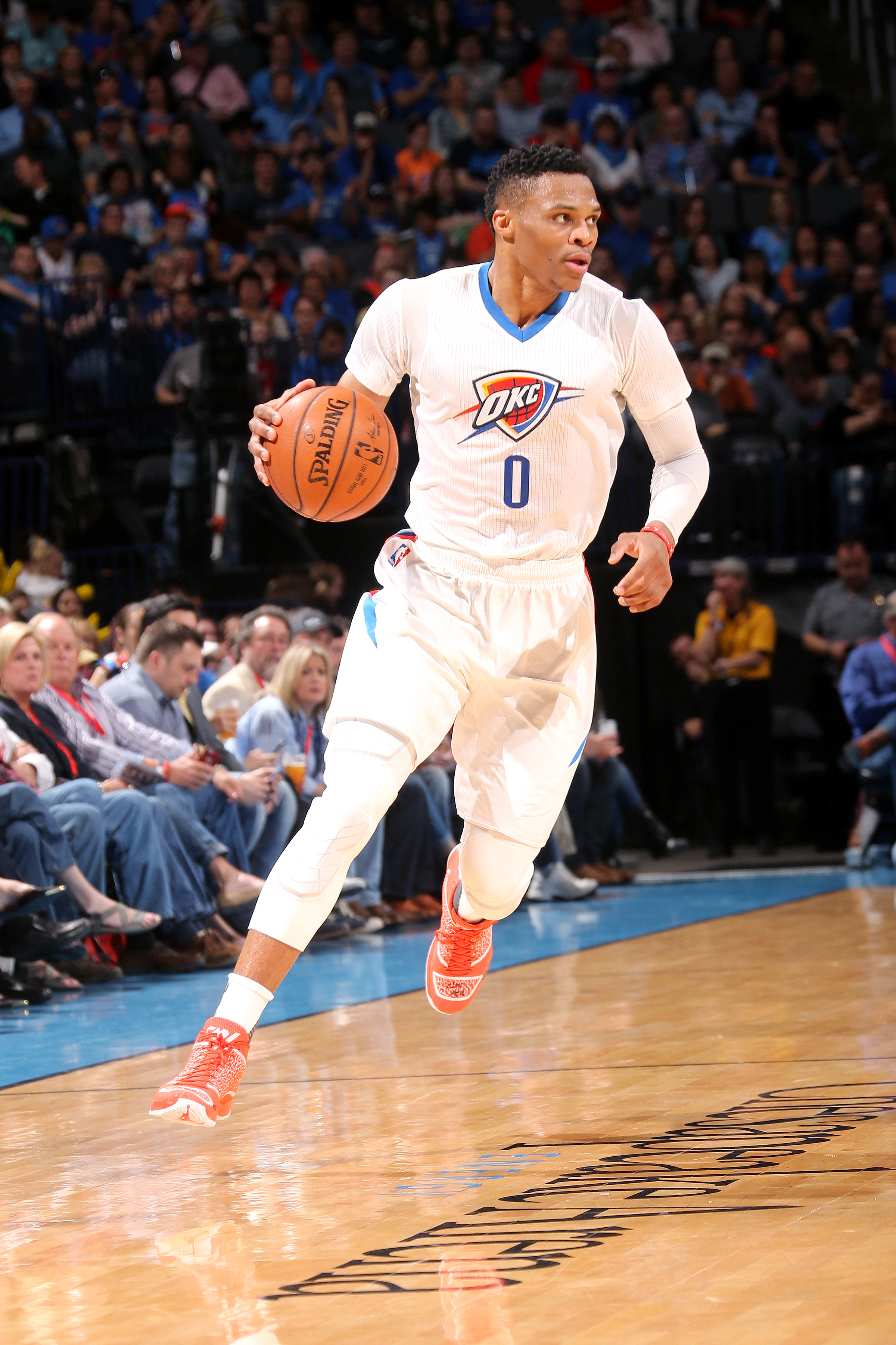 OKLAHOMA CITY, OK- MARCH 14: Russell Westbrook #0 of the Oklahoma City Thunder handles the ball during the game against the Portland Trail Blazers on March 14, 2016 at Chesapeake Energy Arena in Oklahoma City, Oklahoma. (Photo by Layne Murdoch/NBAE via Ge