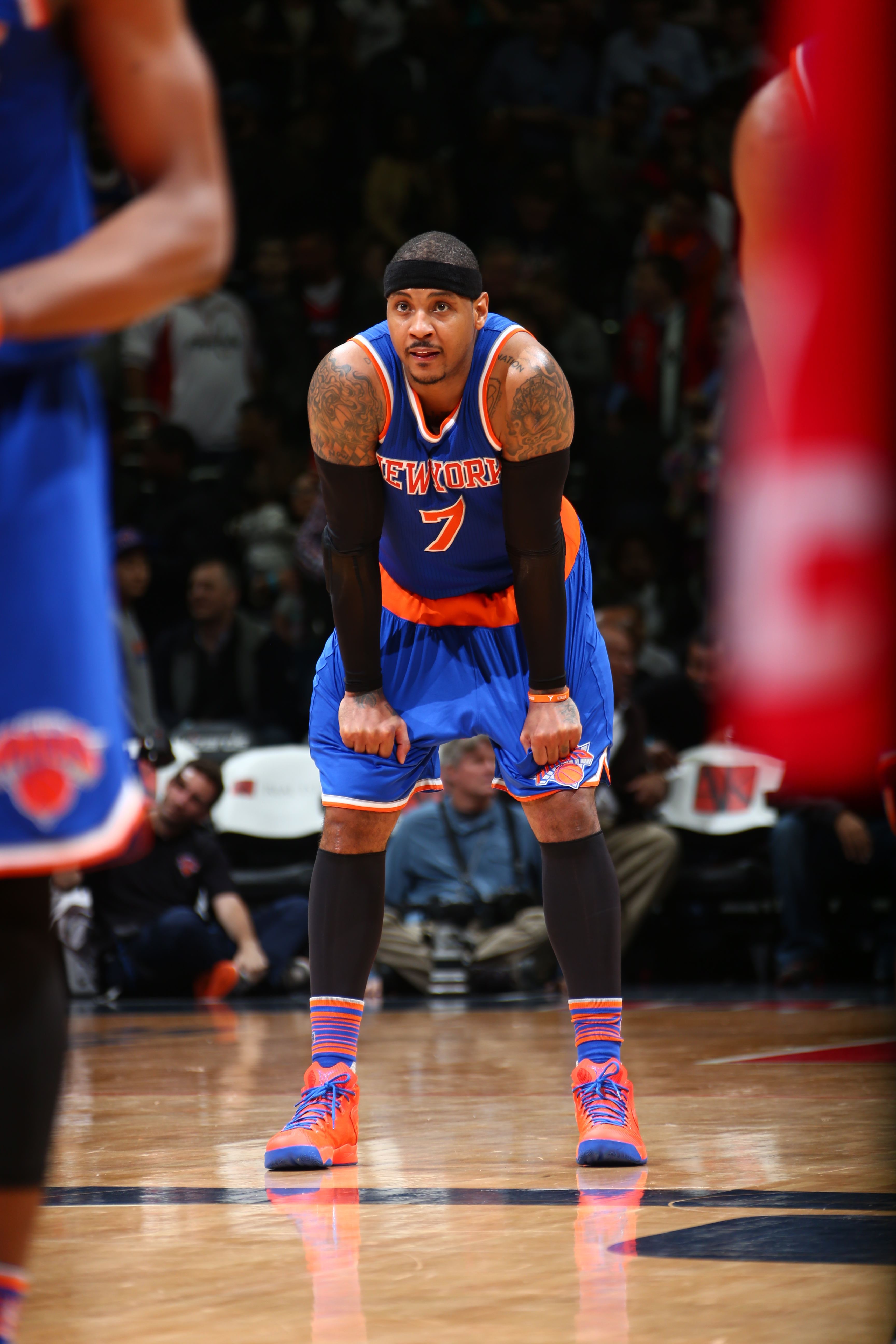 WASHINGTON, DC  - MARCH 19: Carmelo Anthony #7 of the New York Knicks during the game against the New York Knicks on March 19, 2016 at Verizon Center in Washington, District of Columbia. (Photo by Ned Dishman/NBAE via Getty Images)