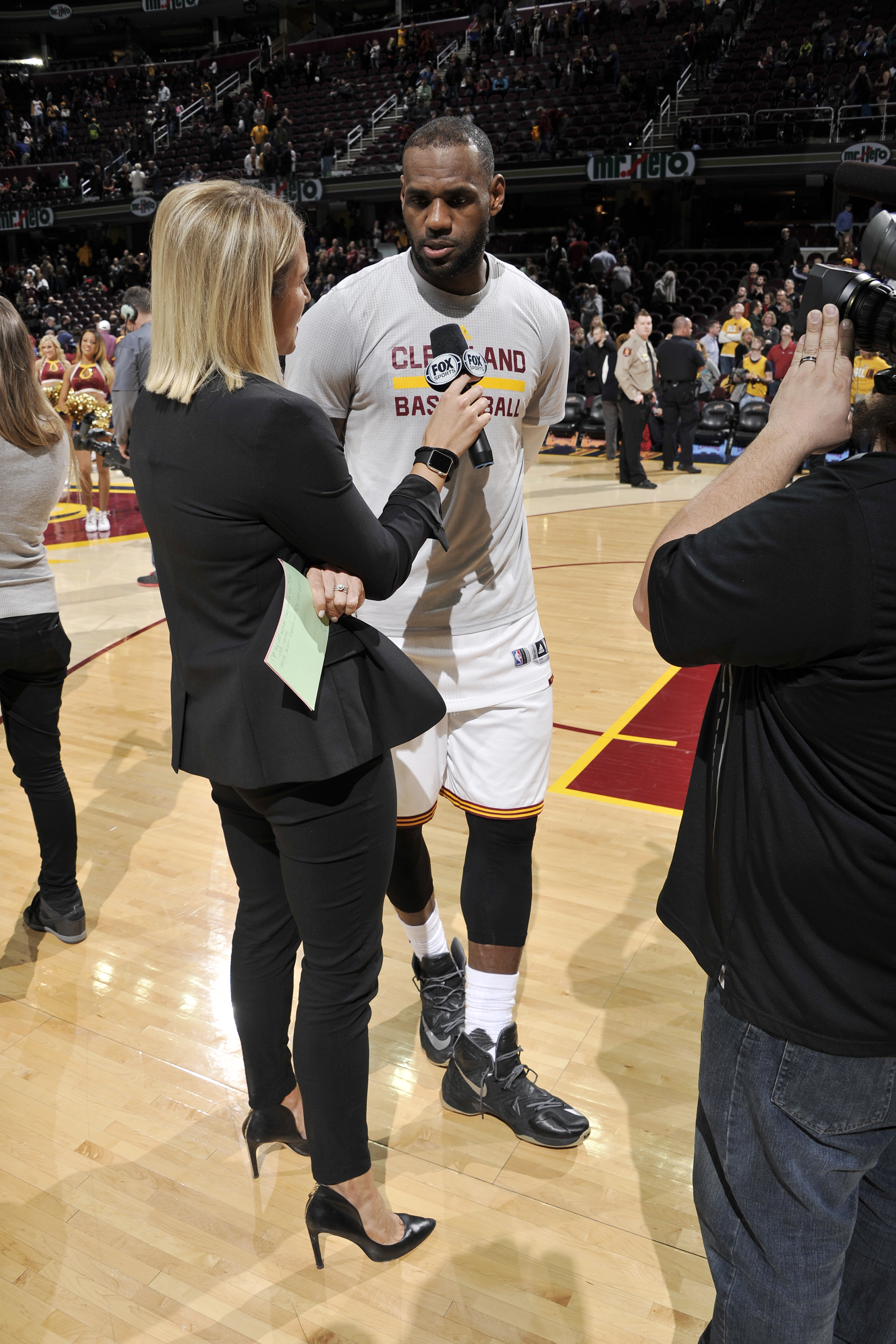 CLEVELAND, OH - MARCH 21:  LeBron James #23 of the Cleveland Cavaliers is interviewed after the game against the Denver Nuggets on March 21, 2016 at Quicken Loans Arena in Cleveland, Ohio. (Photo by David Liam Kyle/NBAE via Getty Images)