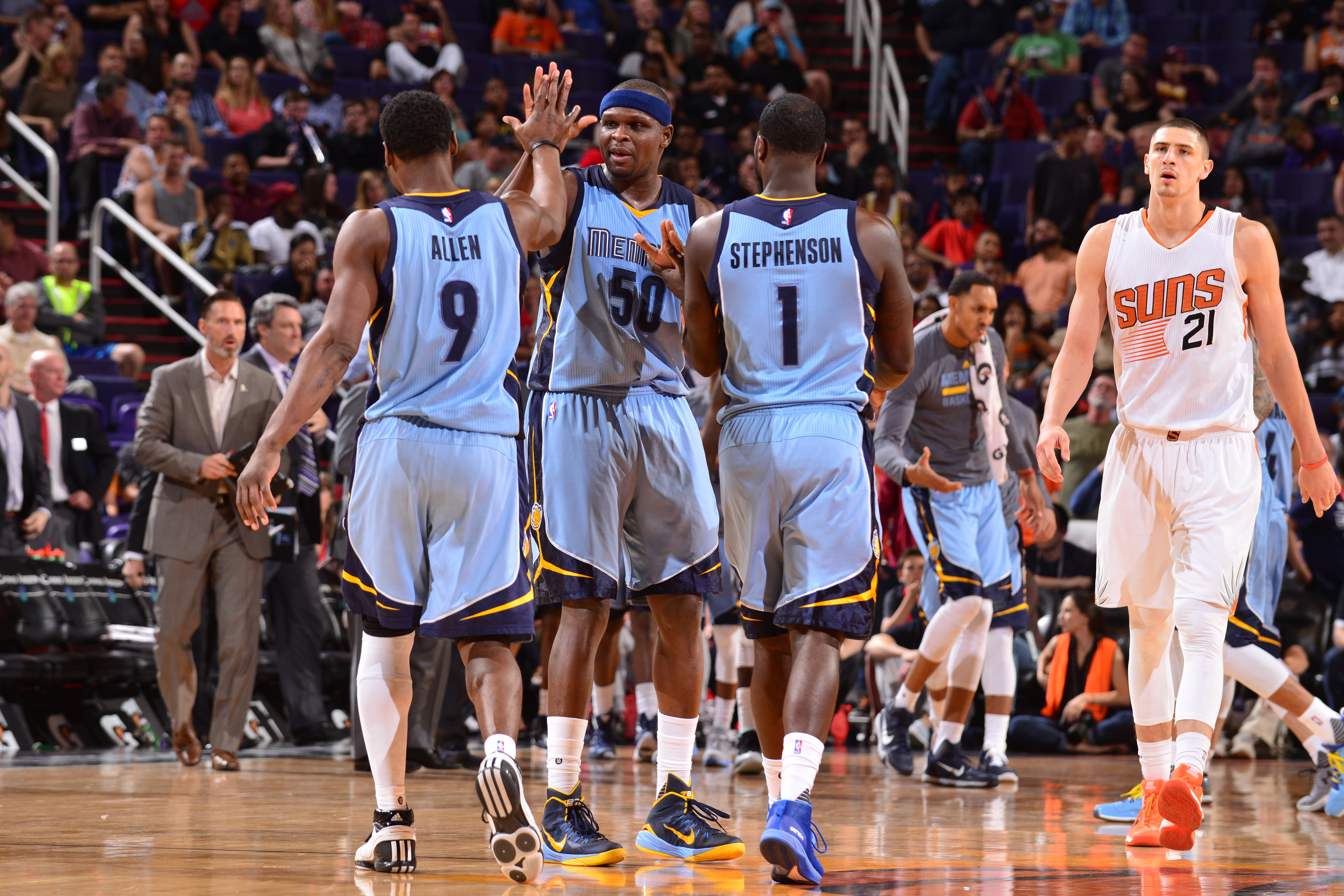 PHOENIX, AZ  - MARCH 21: Zach Randolph #50 high fives teammate Tony Allen #9 and Lance Stephenson #1 of the Memphis Grizzlies during the game against the Phoenix Suns on March 21, 2016 at Talking Stick Resort Arena in Phoenix, Arizona. (Photo by Barry Gos