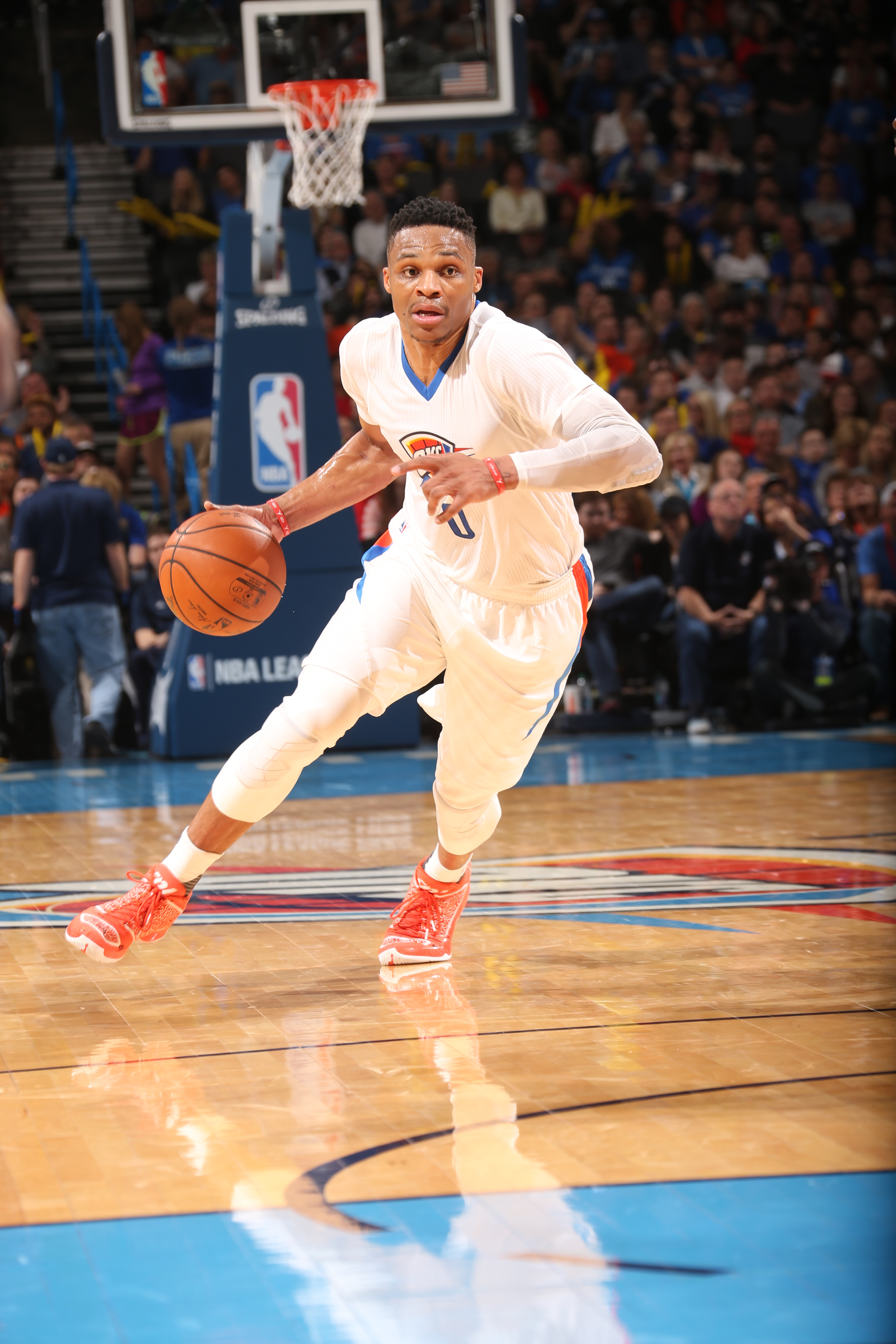 OKLAHOMA CITY, OK - MARCH 22:  Russell Westbrook #0 of the Oklahoma City Thunder drives to the basket against the Houston Rockets on March 22, 2016 at Chesapeake Energy Arena in Oklahoma City, Oklahoma. (Photo by Layne Murdoch/NBAE via Getty Images)