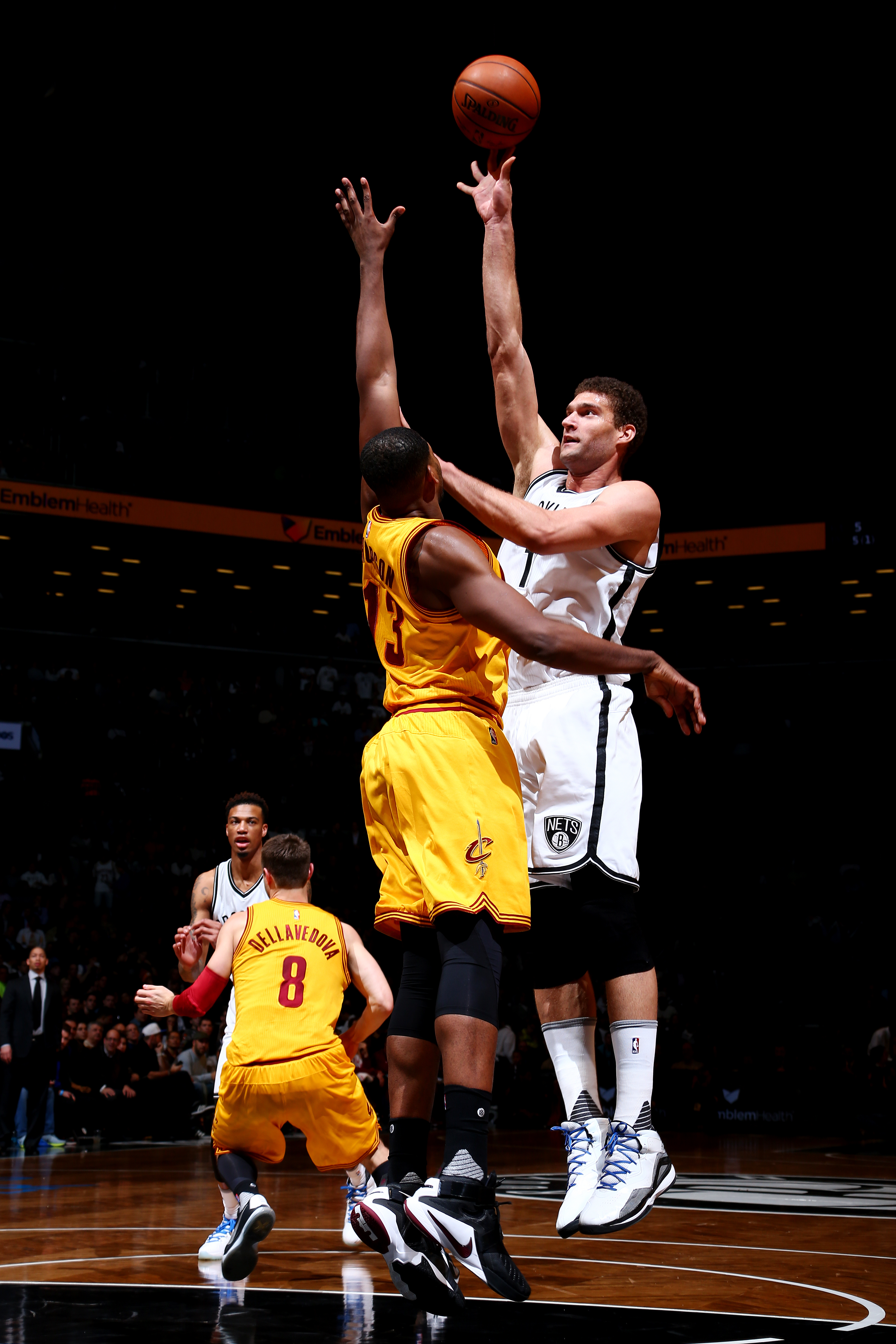 BROOKLYN, NY  - MARCH 24: Brook Lopez #11 of the Brooklyn Nets shoots against Tristan Thompson #13 of the Cleveland Cavaliers during the game on March 24, 2016 at Barclays Center in Brooklyn, New York. (Photo by Nathaniel S. Butler/NBAE via Getty Images)