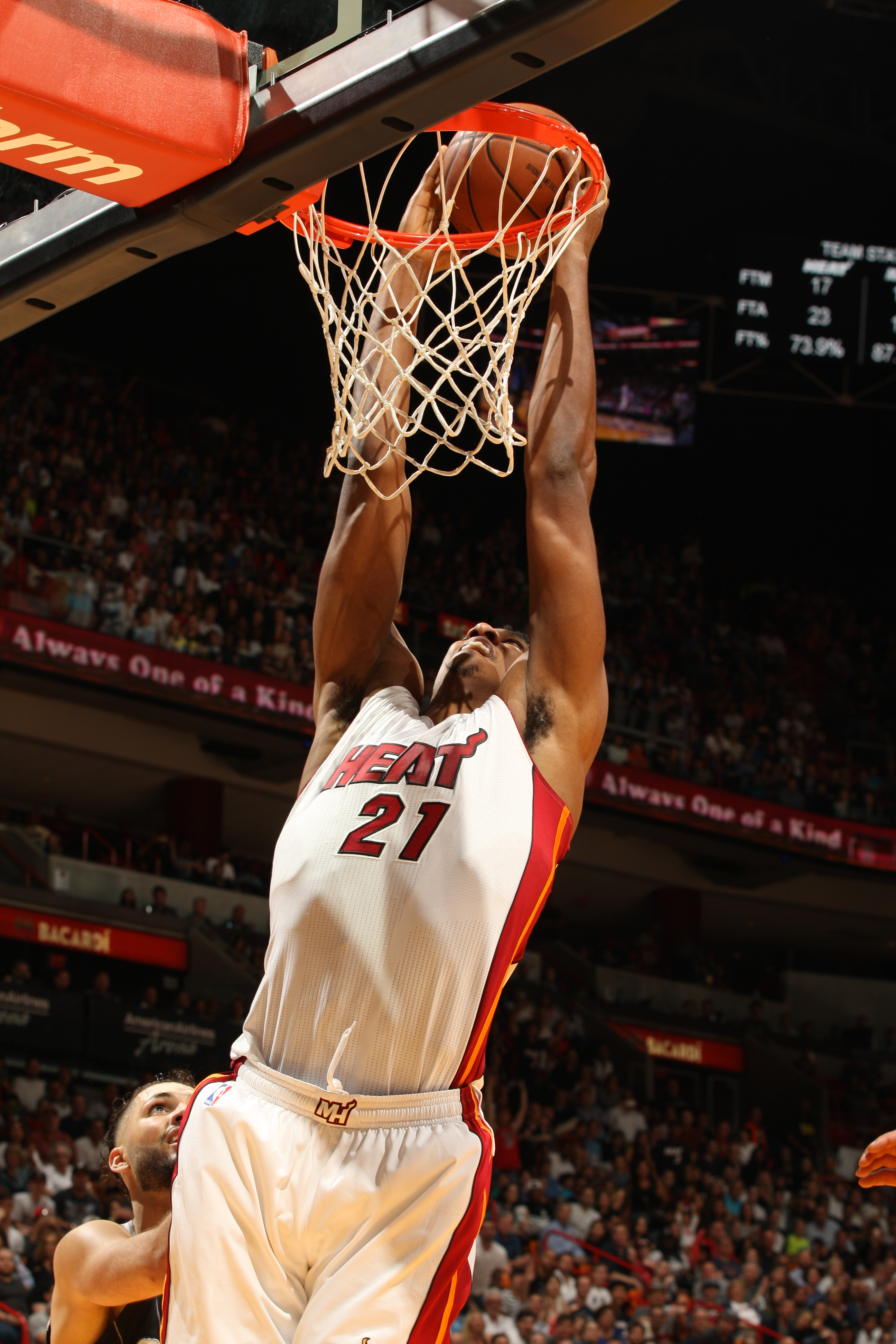 MIAMI, FL - MARCH 25:  Hassan Whiteside #21 of the Miami Heat goes to the basket against the Orlando Magic on March 25, 2016 at AmericanAirlines Arena in Miami, Florida. (Photo by Oscar Baldizon/NBAE via Getty Images)