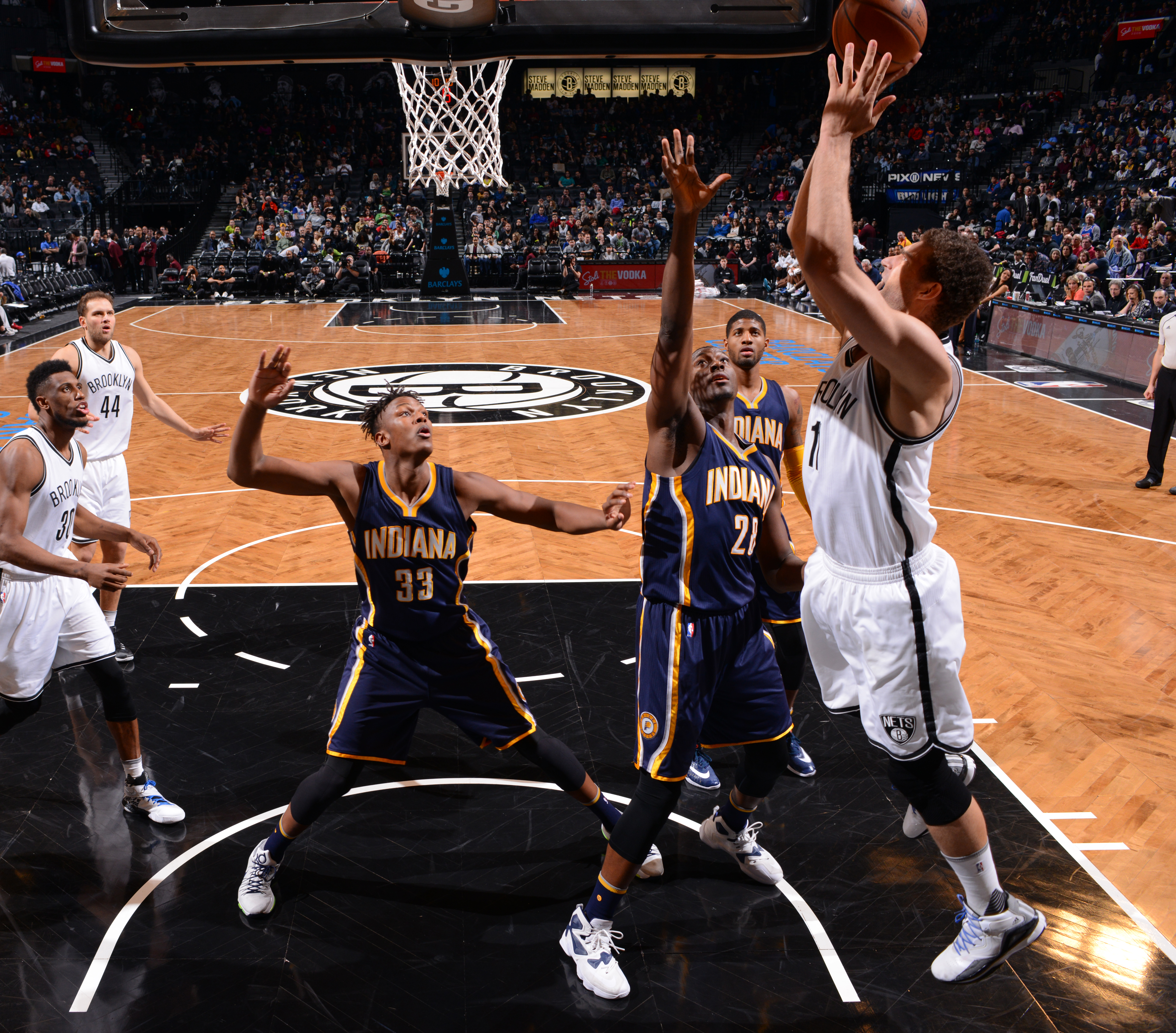 BROOKLYN, NY - MARCH 26:  Brook Lopez #11 of the Brooklyn Nets goes up for the layup against the Indiana Pacers on March 26, 2016 at Barclays Center in Brooklyn, New York. (Photo by Jesse D. Garrabrant/NBAE via Getty Images)