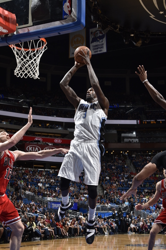 ORLANDO, FL - MARCH 26:  Dewayne Dedmon #3 of the Orlando Magic goes to the basket against the Chicago Bulls on March 26, 2016 at Amway Center in Orlando, Florida. (Photo by Fernando Medina/NBAE via Getty Images)