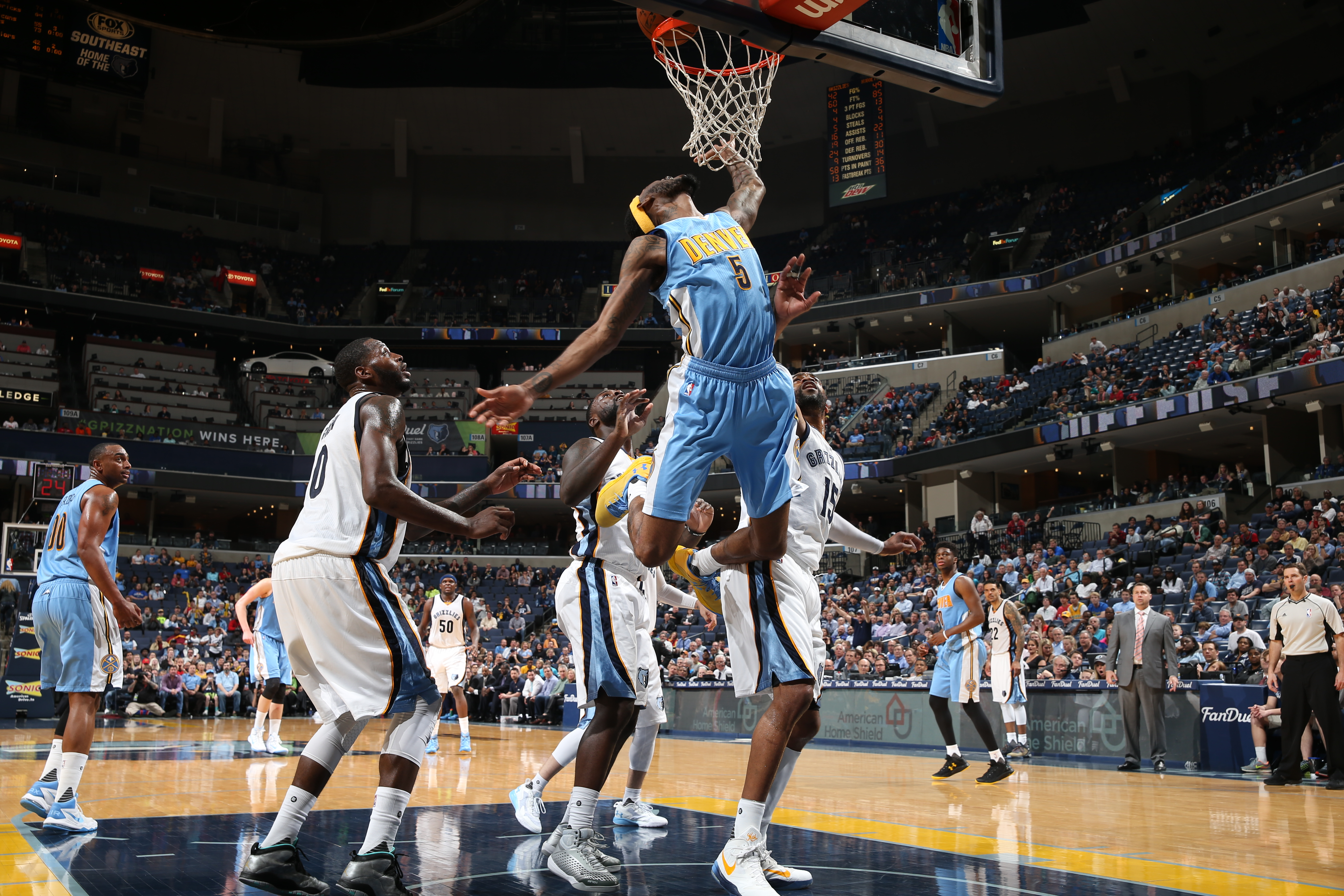 MEMPHIS, TN - MARCH 30:  Will Barton #5 of the Denver Nuggets shoots the ball against the Memphis Grizzlies on March 30, 2016 at FedExForum in Memphis, Tennessee. (Photo by Joe Murphy/NBAE via Getty Images)