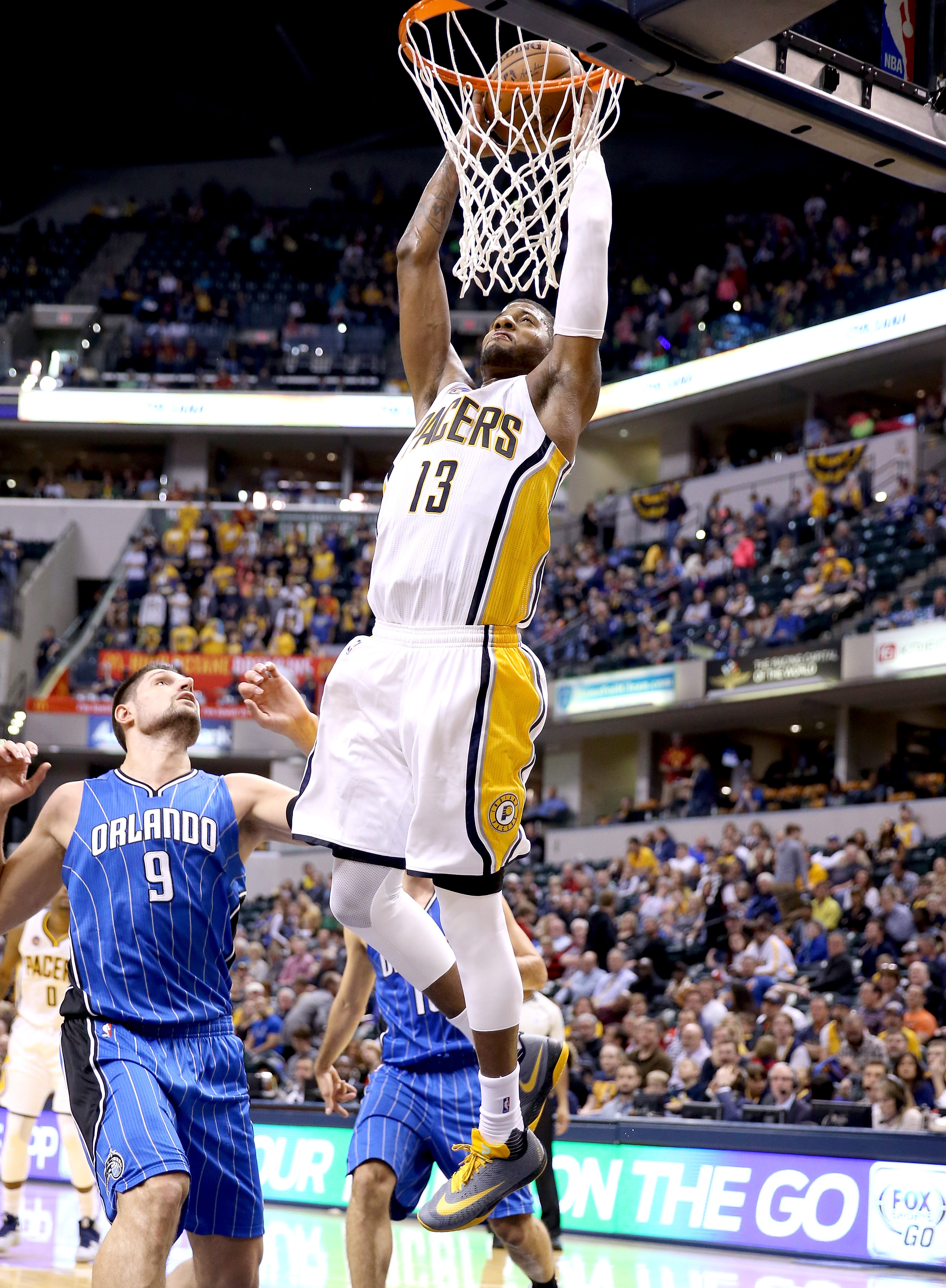 INDIANAPOLIS, IN - MARCH 31:  Paul George #13 of the Indiana Pacers shoots the ball during the game against the  Orlando Magic at Bankers Life Fieldhouse on March 31, 2016 in Indianapolis, Indiana.  (Photo by Andy Lyons/Getty Images)