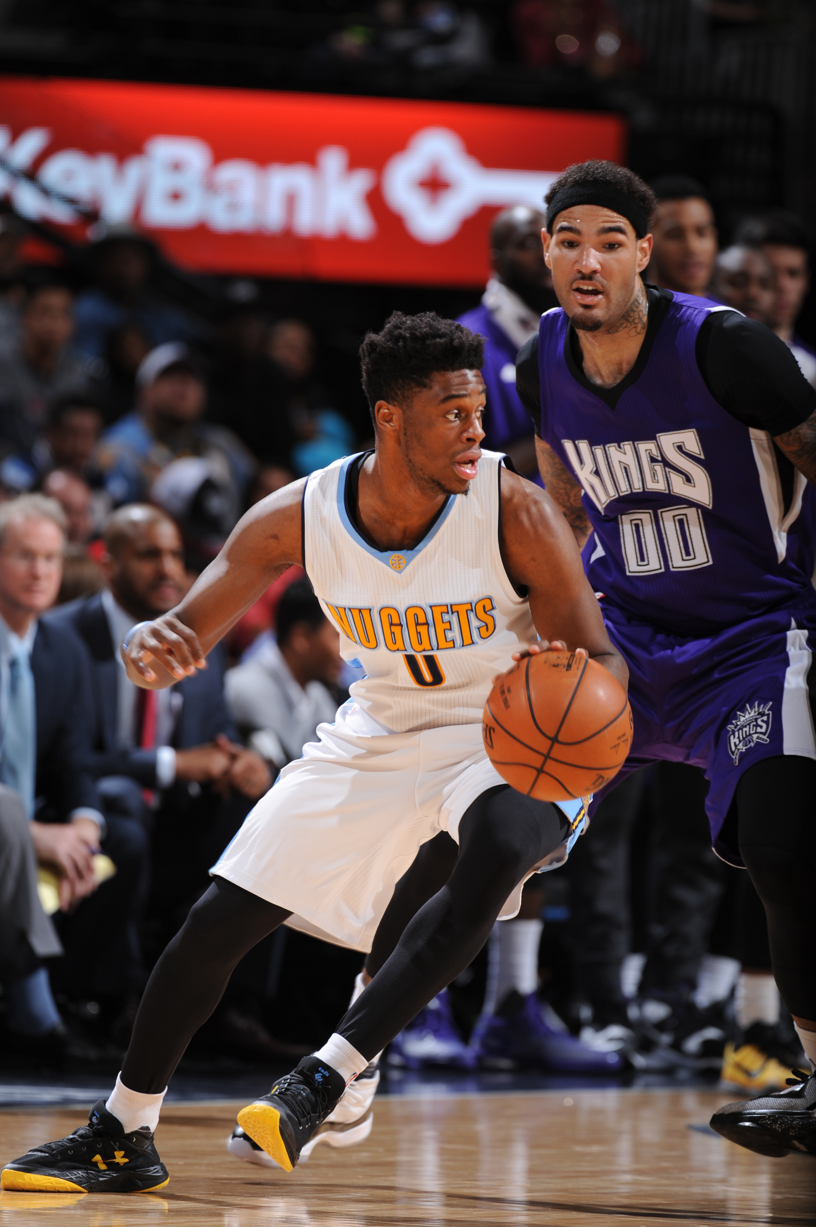 DENVER, CO  - APRIL 2: Emmanuel Mudiay #0 of the Denver Nuggets drives to the basket against the Sacramento Kings during the game on April 2, 2016 at Pepsi Center in Denver, Colorado. (Photo by Garrett Ellwood/NBAE via Getty Images)