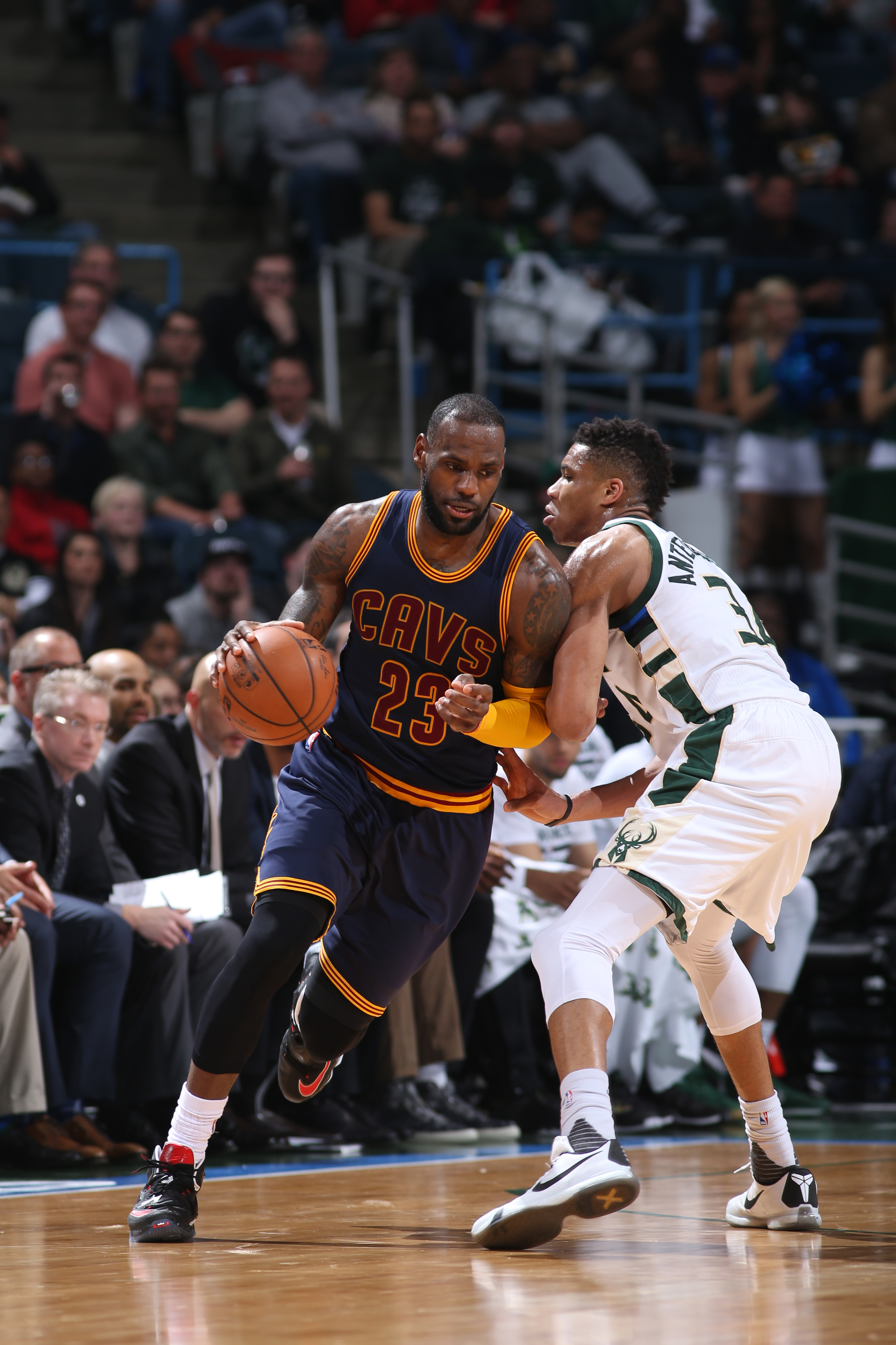 MILWAUKEE, WI - APRIL 5:  LeBron James #23 of the Cleveland Cavaliers handles the ball against Giannis Antetokounmpo #34 of the Milwaukee Bucks on April 5, 2016 at the BMO Harris Bradley Center in Milwaukee, Wisconsin. (Photo by Gary Dineen/NBAE via Getty