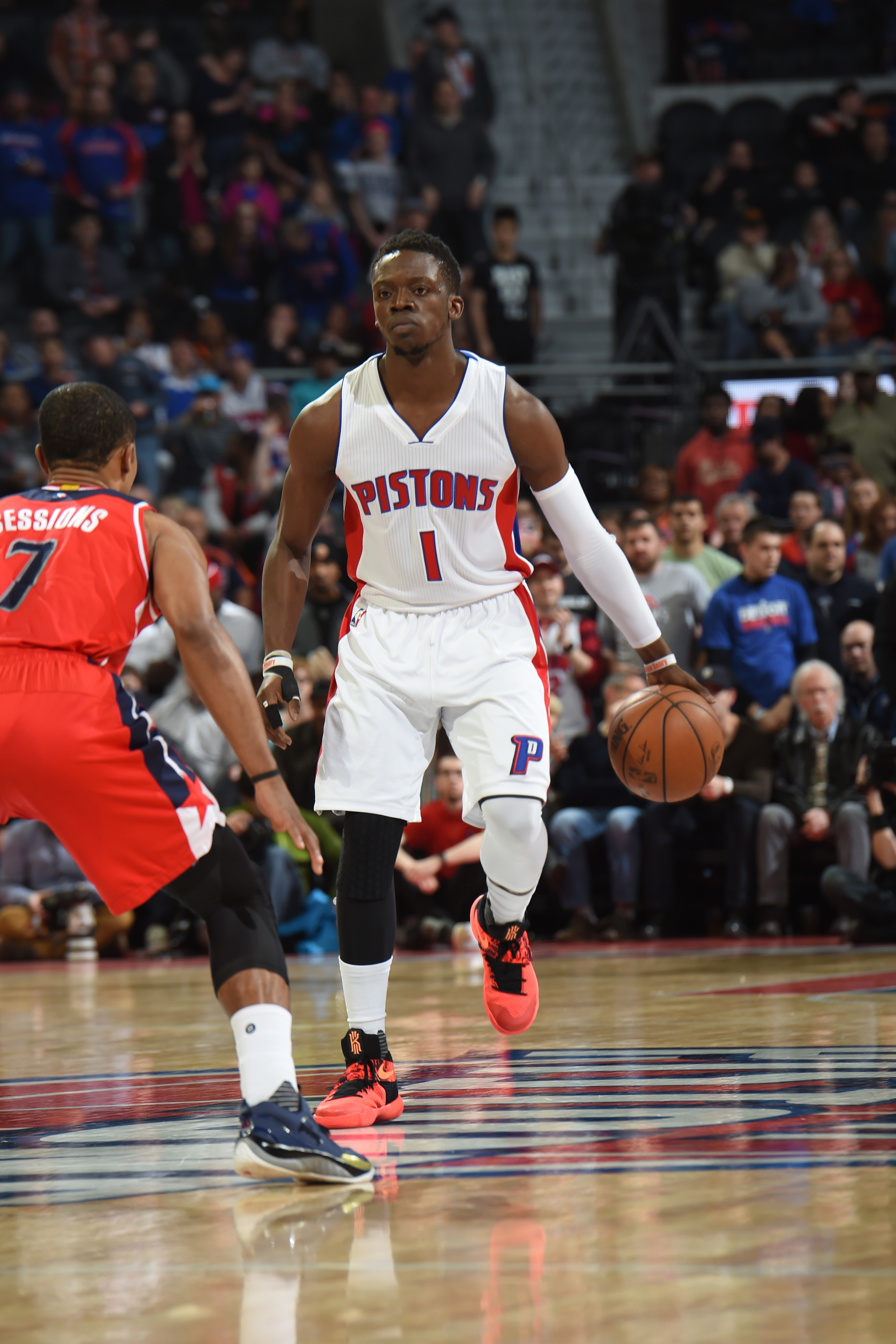 AUBURN HILLS, MI - APRIL 8:  Reggie Jackson #1 of the Detroit Pistons dribbles the ball against the Washington Wizards on April 8, 2016 at The Palace of Auburn Hills in Auburn Hills, Michigan. (Photo by Allen Einstein/NBAE via Getty Images)