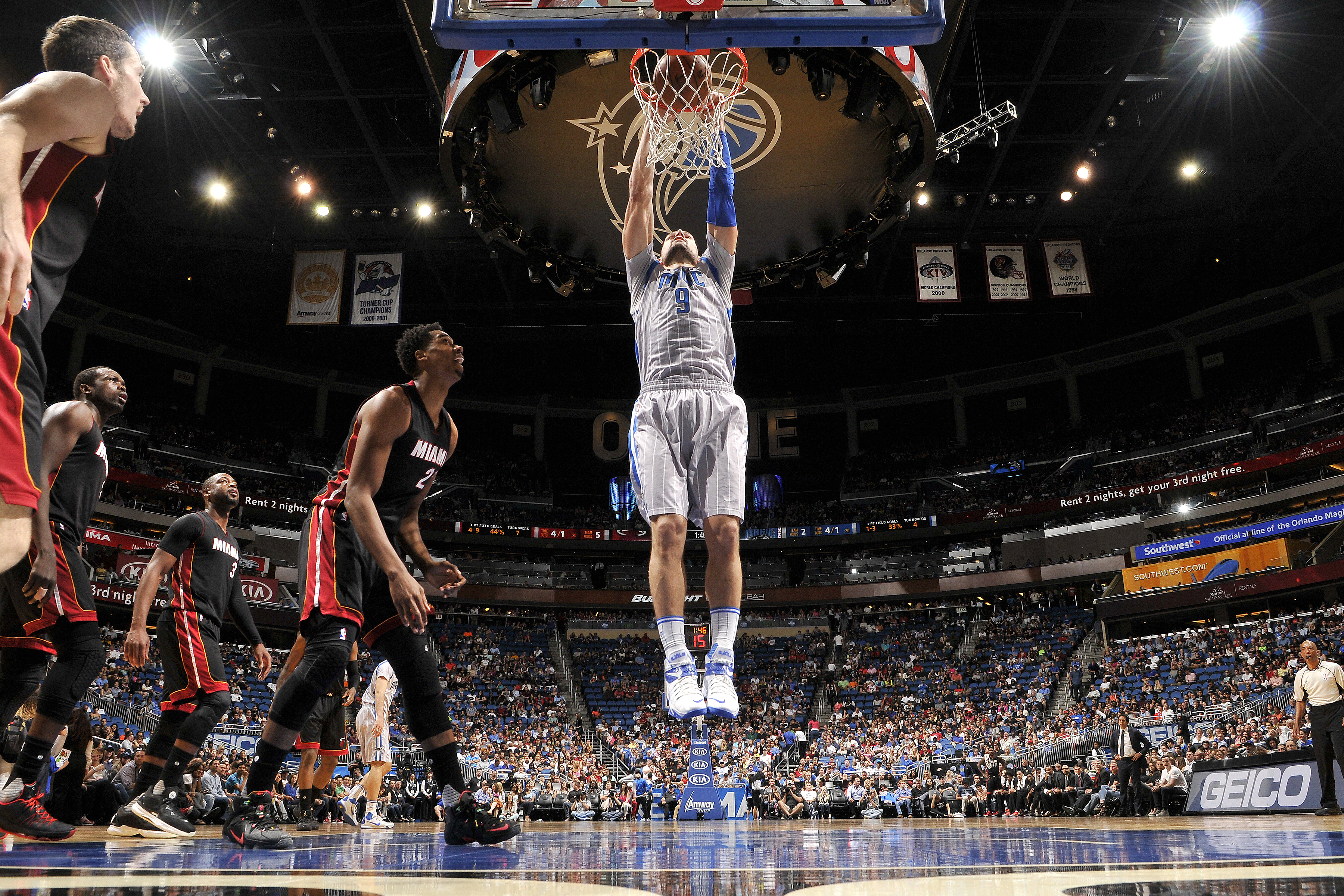 ORLANDO, FL - APRIL 8: Nikola Vucevic #9 of the Orlando Magic dunks the ball during the game against the Miami Heat on April 8, 2016 at Amway Center in Orlando, Florida. (Photo by Fernando Medina/NBAE via Getty Images)