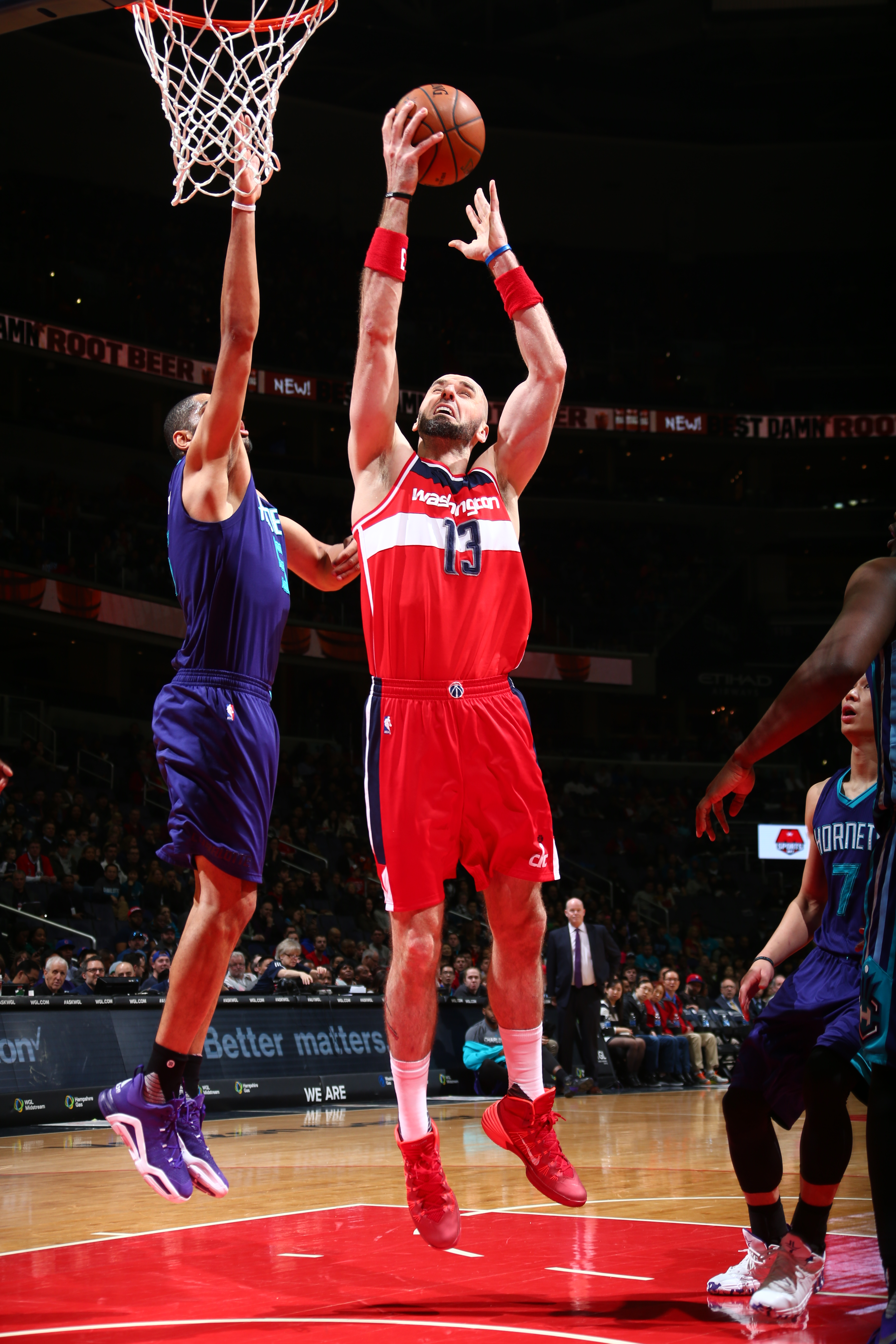 WASHINGTON, DC - APRIL 10:  Marcin Gortat #13 of the Washington Wizards shoots the ball against the Charlotte Hornets on April 10, 2016 at Verizon Center in Washington, DC. (Photo by Ned Dishman/NBAE via Getty Images)