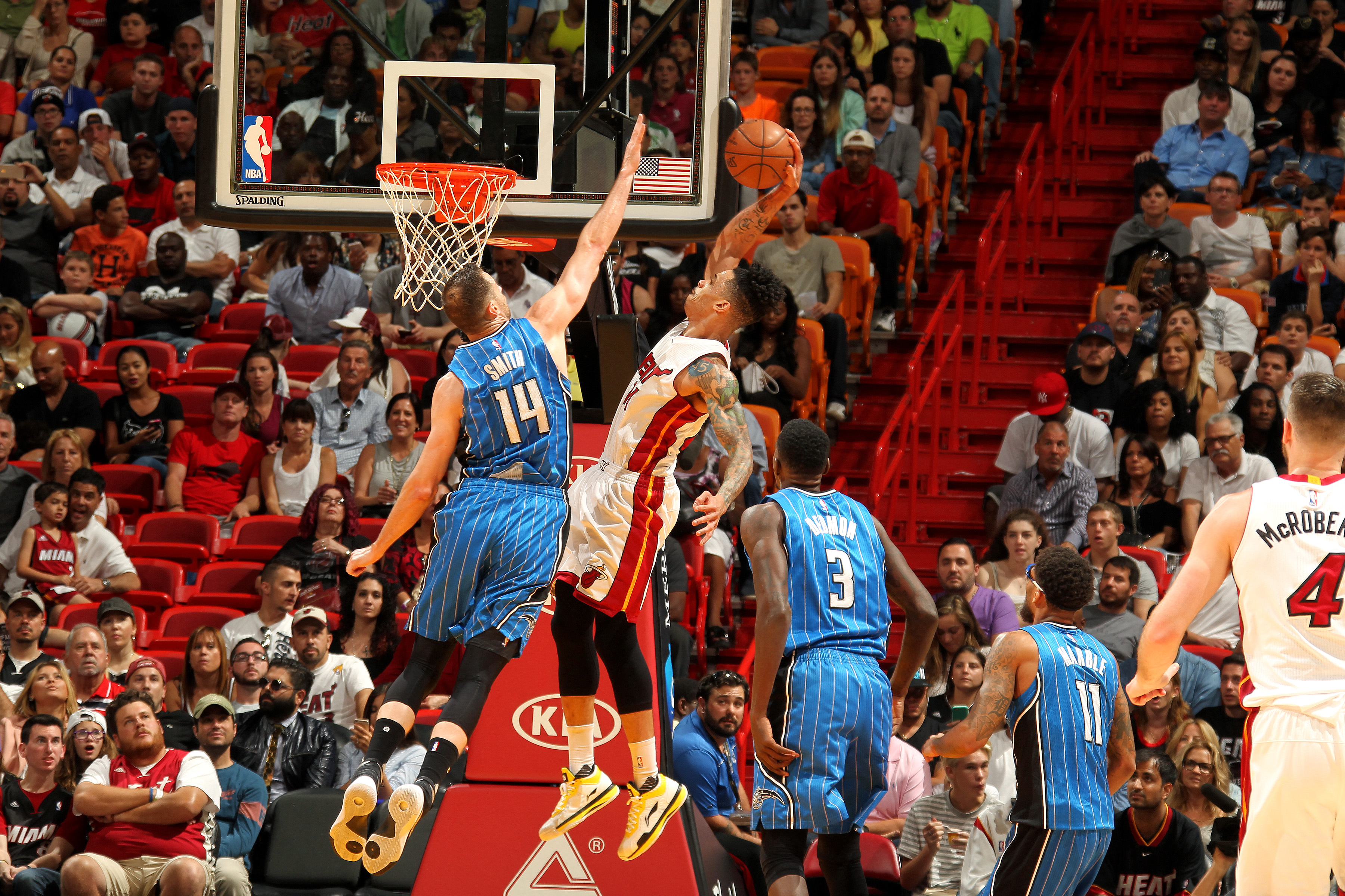 MIAMI, FL - APRIL 10: Gerald Green #14 of the Miami Heat goes for the dunk during the game against the Orlando Magic on April 10, 2016 at AmericanAirlines Arena in Miami, Florida. (Photo by Issac Baldizon/NBAE via Getty Images)