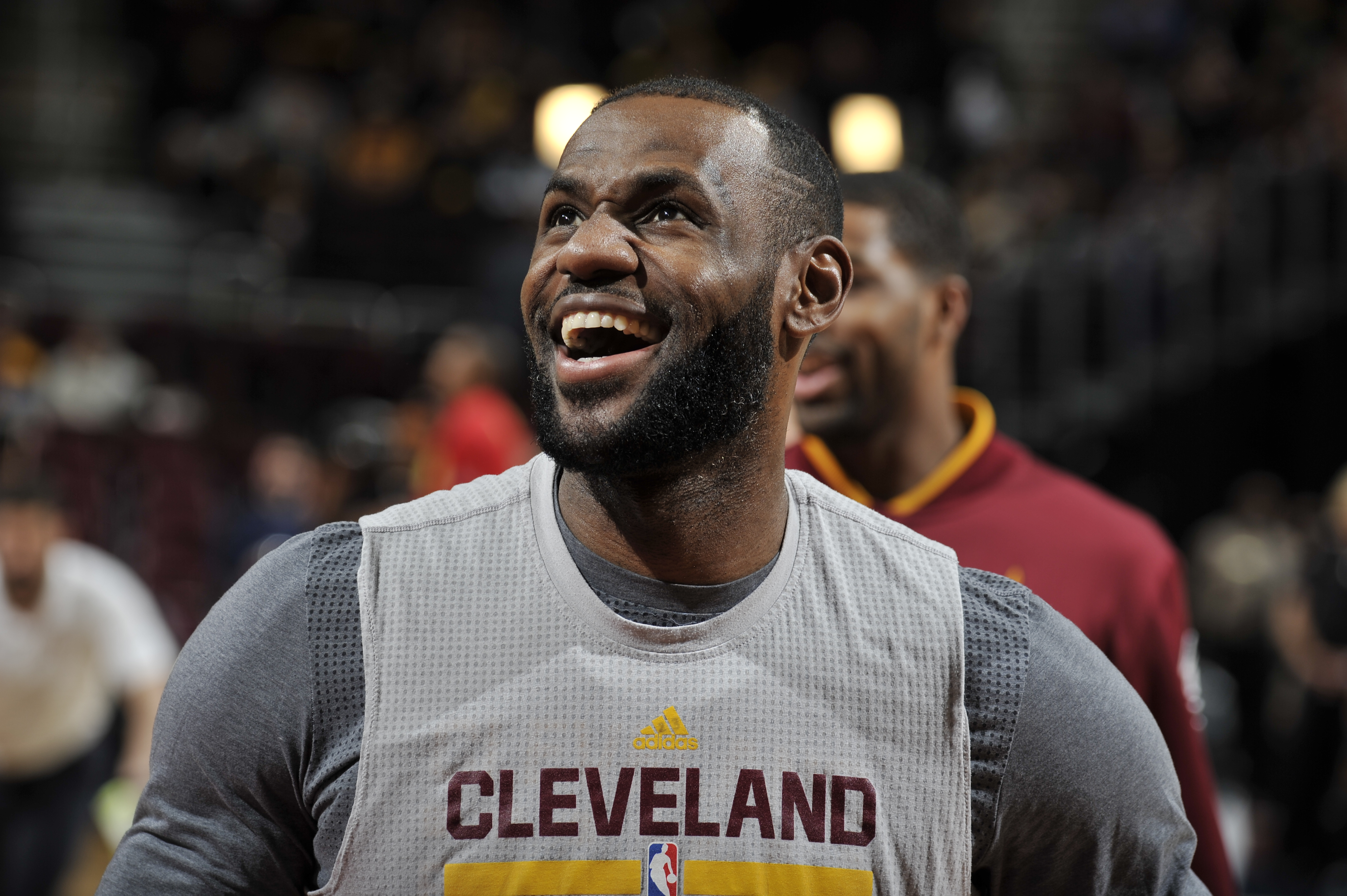 CLEVELAND, OH - APRIL 11:  LeBron James #23 of the Cleveland Cavaliers warms up before the game against the Atlanta Hawks on April 11, 2016 at Quicken Loans Arena in Cleveland, Ohio. (Photo by David Liam Kyle/NBAE via Getty Images)