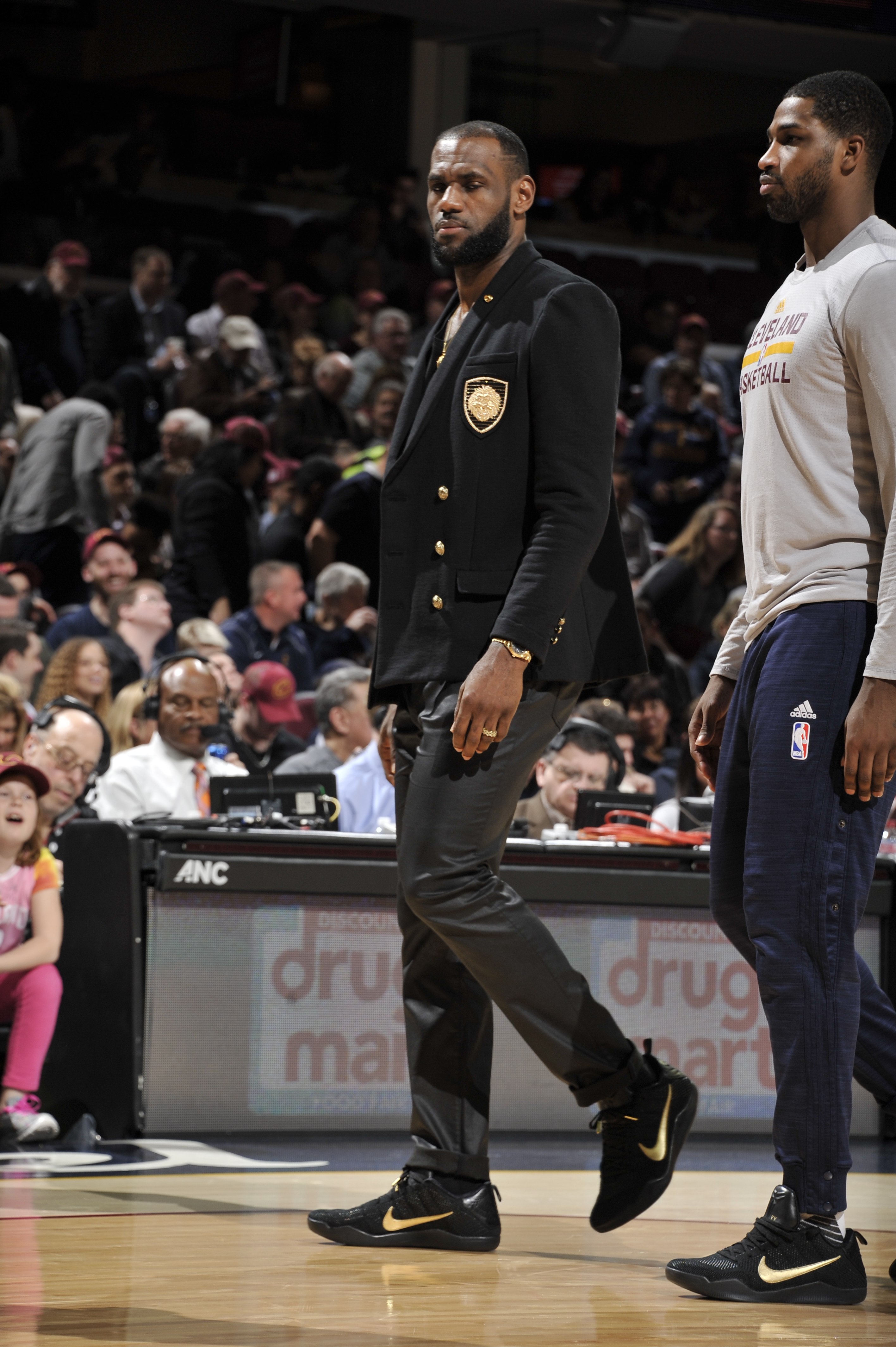 CLEVELAND, OH - APRIL 13:  LeBron James #23 of the Cleveland Cavaliers and Tristan Thompson #13 of the Cleveland Cavaliers wear commemorative Mamba Day sneakers during the game against the Detroit Pistons on April 13, 2016 at Quicken Loans Arena in Clevel