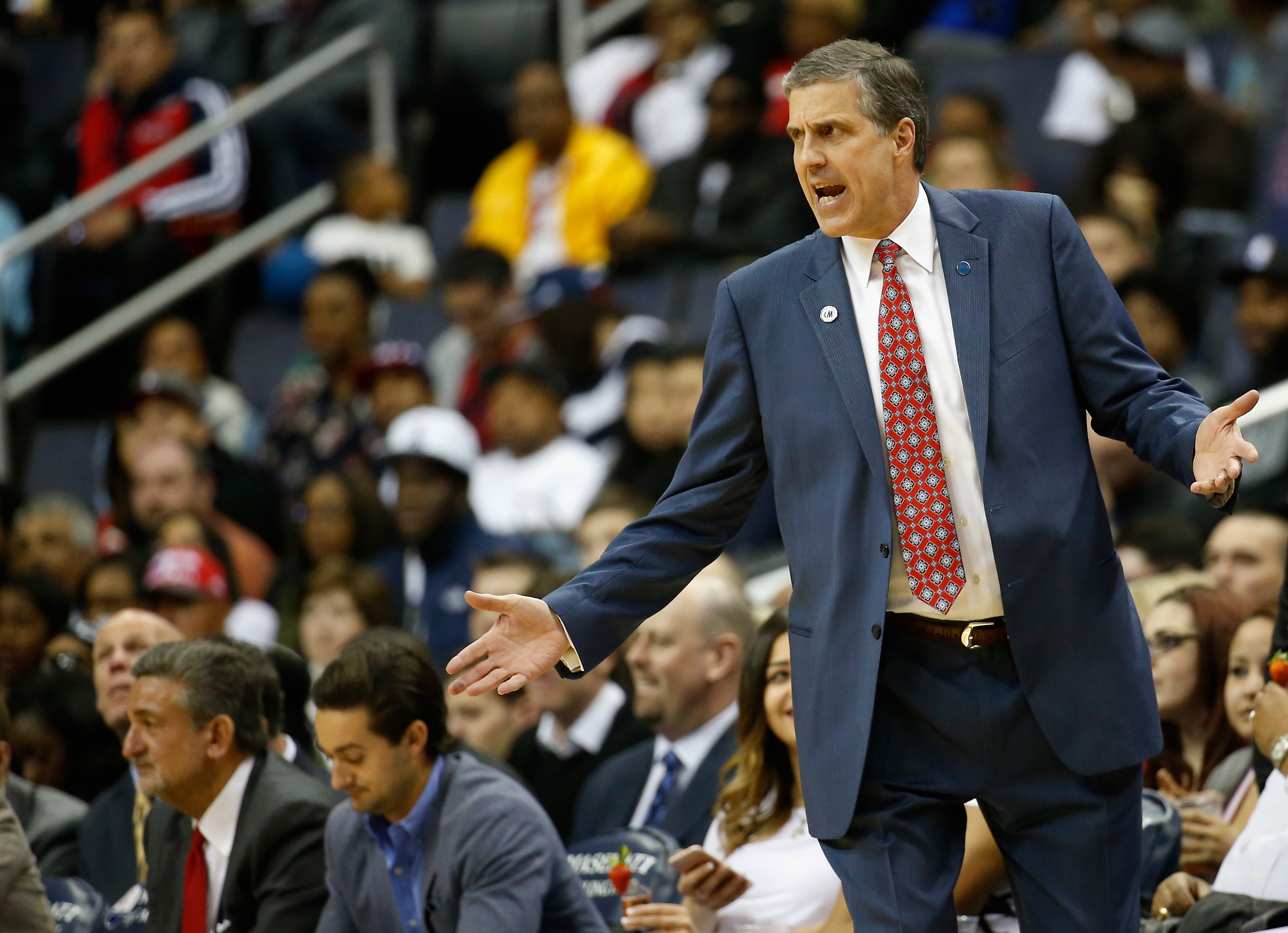 WASHINGTON, DC - APRIL 13: Washington Wizards owner Ted Leonsis, far left, looks on as head coach Randy Wittman (R) reacts to a first half play against the Atlanta Hawks  at Verizon Center on April 13, 2016 in Washington, DC.  (Photo by Rob Carr/Getty Ima