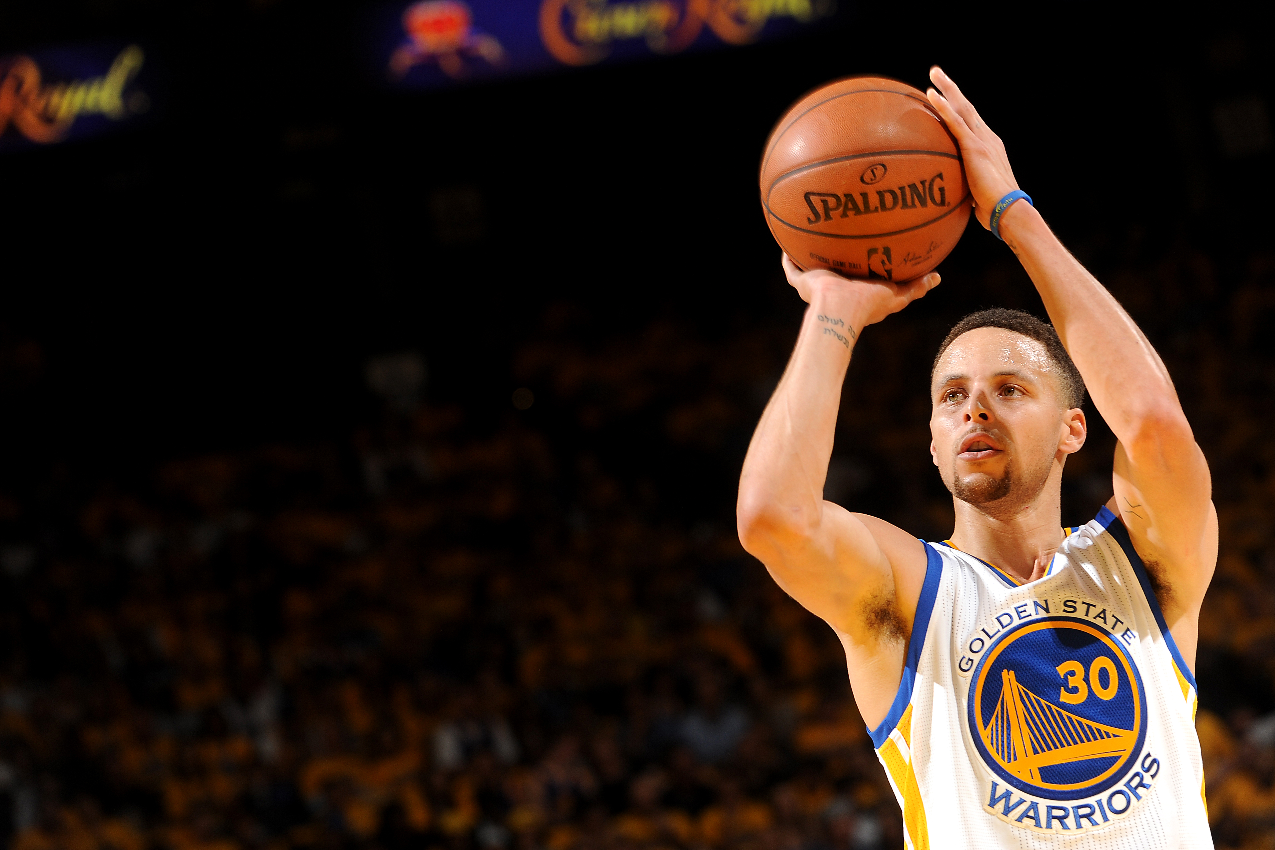 OAKLAND, CA - APRIL 16: Stephen Curry #30 of the Golden State Warriors shoots the ball during the game against the Houston Rockets in Game One of the Western Conference Quarterfinals during the 2016 NBA Playoffs April 16, 2016 at ORACLE Arena in Oakland,