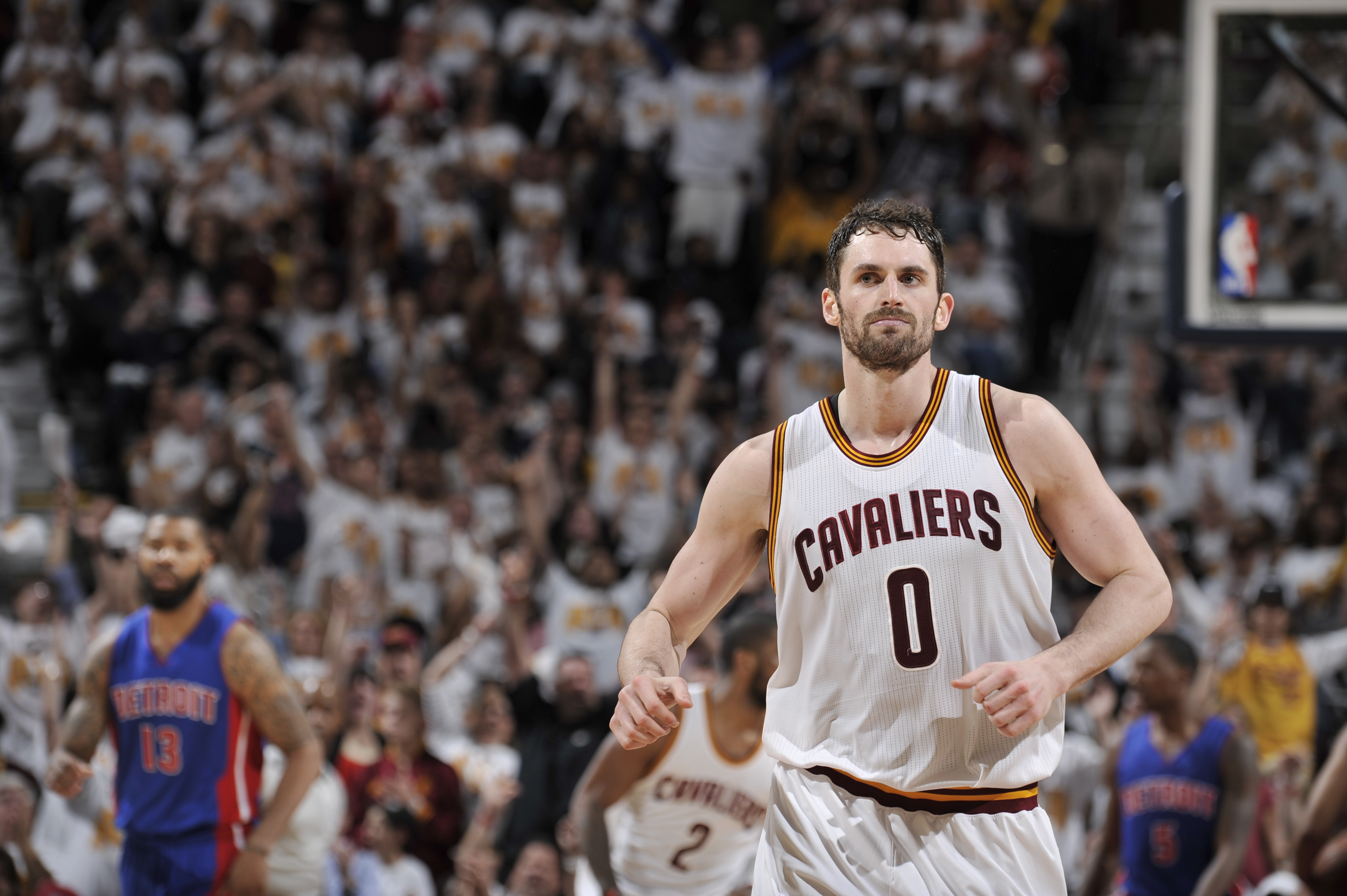 CLEVELAND, OH - APRIL 17: Kevin Love #0 of the Cleveland Cavaliers is seen during the game against the Detroit Pistons during Round One of the 2016 NBA Playoffs on April 17, 2016 at The Quicken Loans Arena in Cleveland, Ohio. (Photo by David Liam Kyle/NBA
