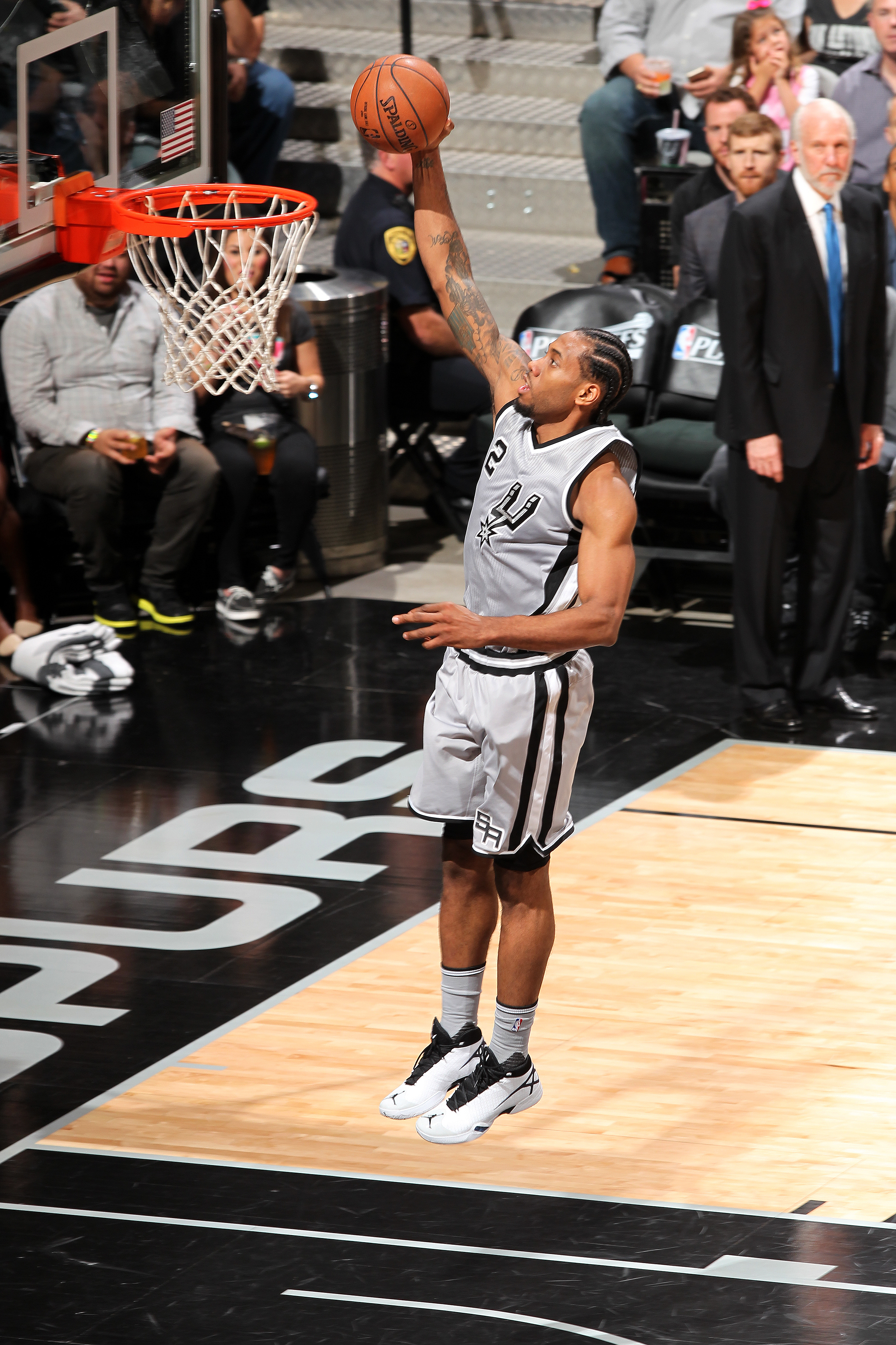 SAN ANTONIO, TX - APRIL 17: Kawhi Leonard #2 of the San Antonio Spurs goes for the lay up during the game against the Memphis Grizzlies in Game One of Round One of the 2016 NBA Playoffs on April 17, 2016 at the AT&T Center in San Antonio, Texas. (Photo by