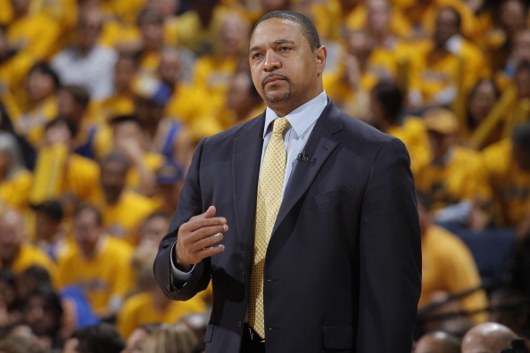 OAKLAND, CA - APRIL 26: Head Coach Mark Jackson of the Golden State Warriors during the game against the Denver Nuggets in Game Three of the Western Conference Quarterfinals during the 2013 NBA Playoffs on April 26, 2013 at Oracle Arena in Oakland, Califo