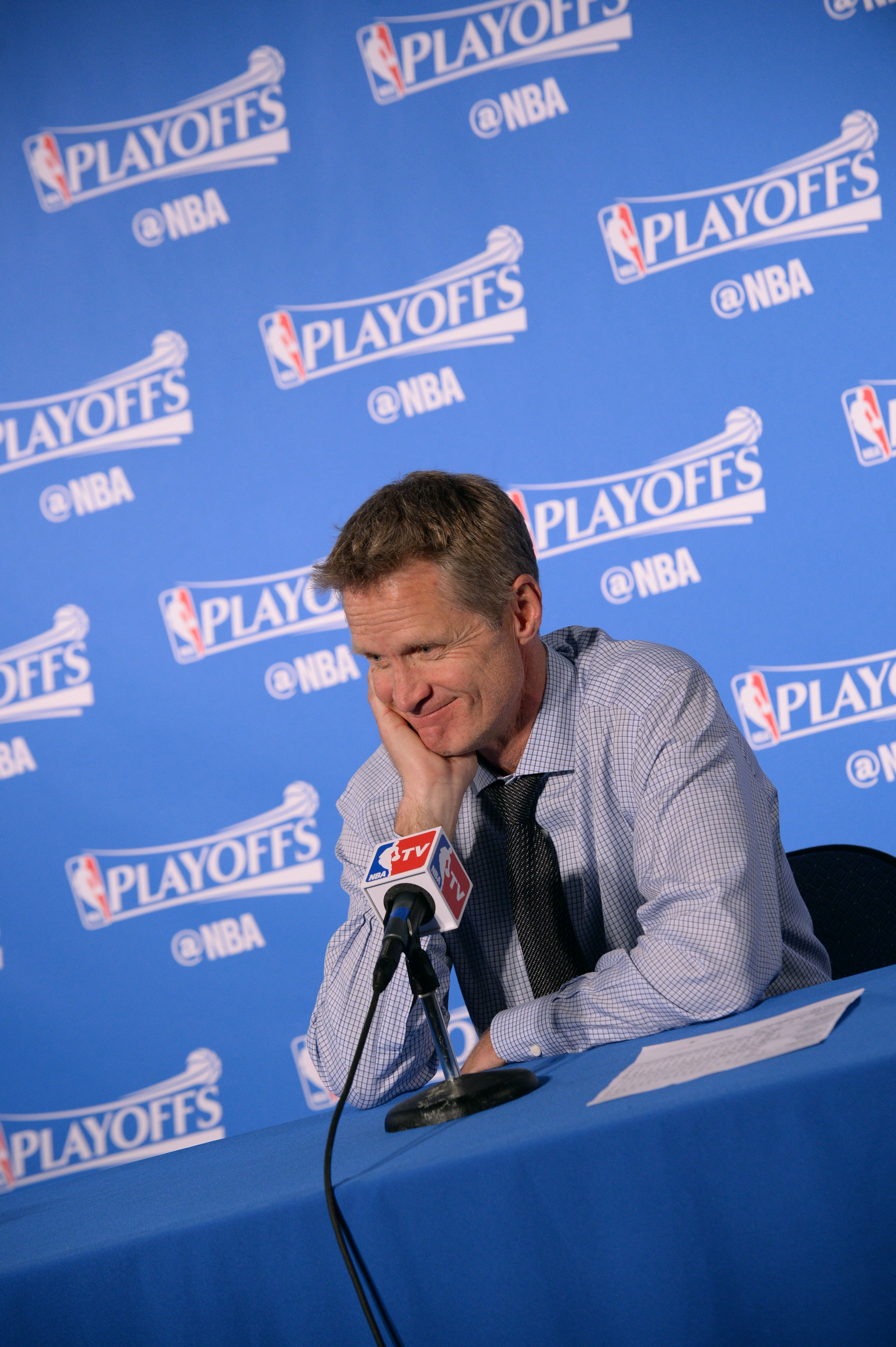 OAKLAND, CA - APRIL 18:  Head coach Steve Kerr of the Golden State Warriors speaks at a post game press conference after Game Two of the Western Conference Quarterfinals against the Houston Rockets during the 2016 NBA Playoffs on April 18, 2016 at ORACLE