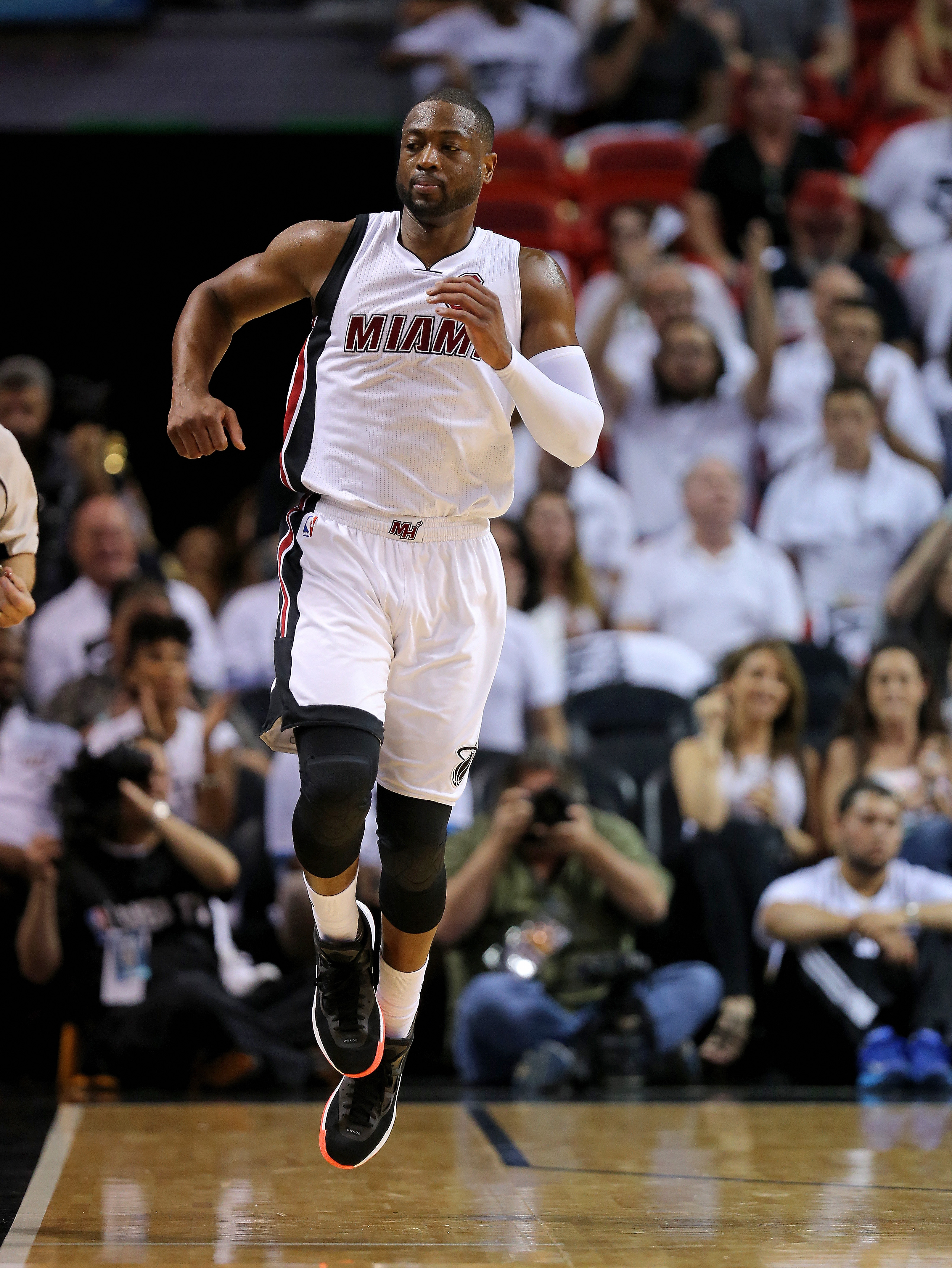 MIAMI, FL - APRIL 20: Dwyane Wade #3  of the Miami Heat reacts to a play during game two of the Eastern Conference Quarterfinals of the 2016 NBA Playoffs against the Charlotte Hornets at American Airlines Arena on April 20, 2016 in Miami, Florida. (Photo