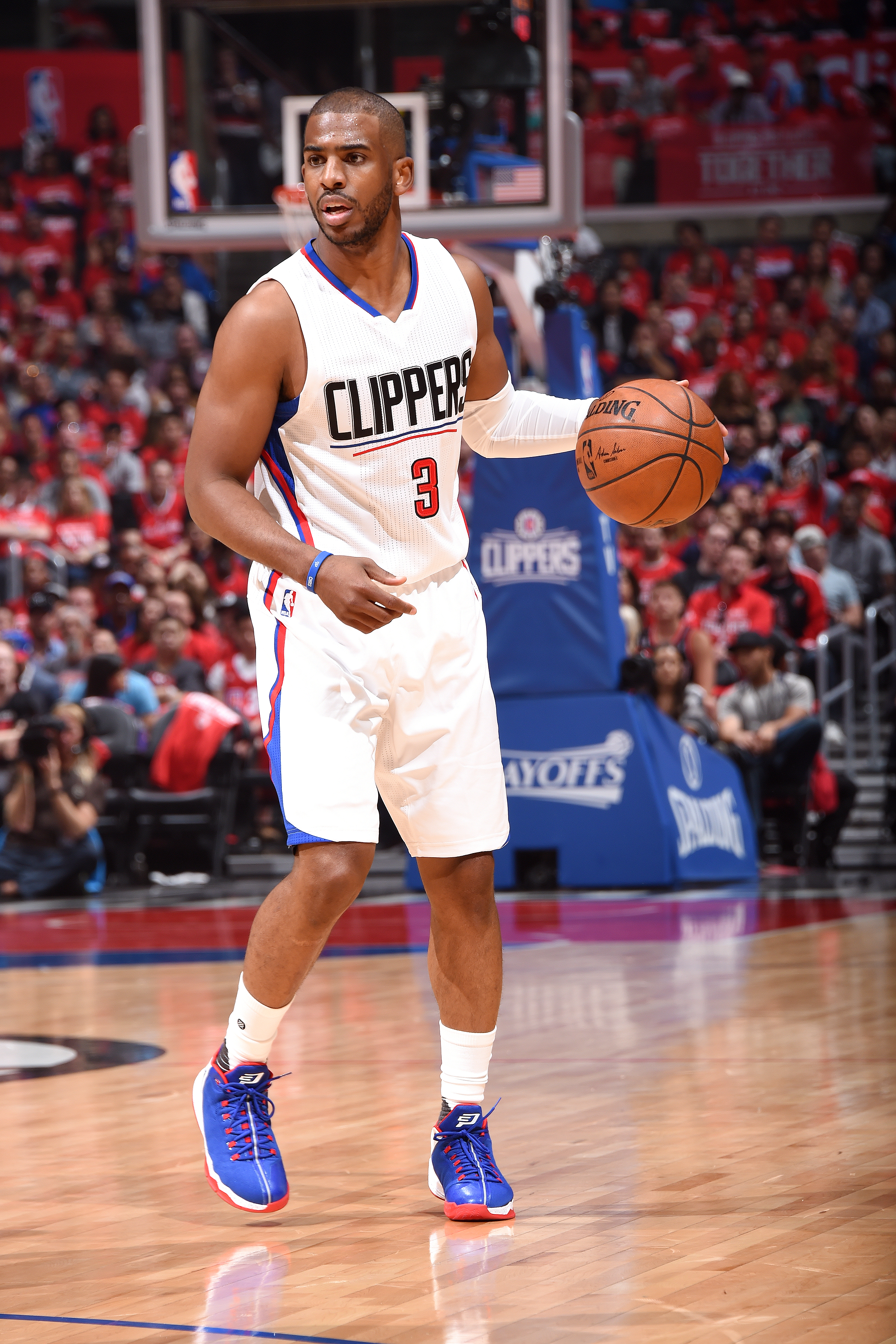 LOS ANGELES, CA - APRIL 20: Chris Paul #3 of the Los Angeles Clippers handles the ball during the game against the Portland Trail Blazers in Game Two of the Western Conference Quarterfinals during the 2016 NBA Playoffs on April 20, 2016 at STAPLES Center